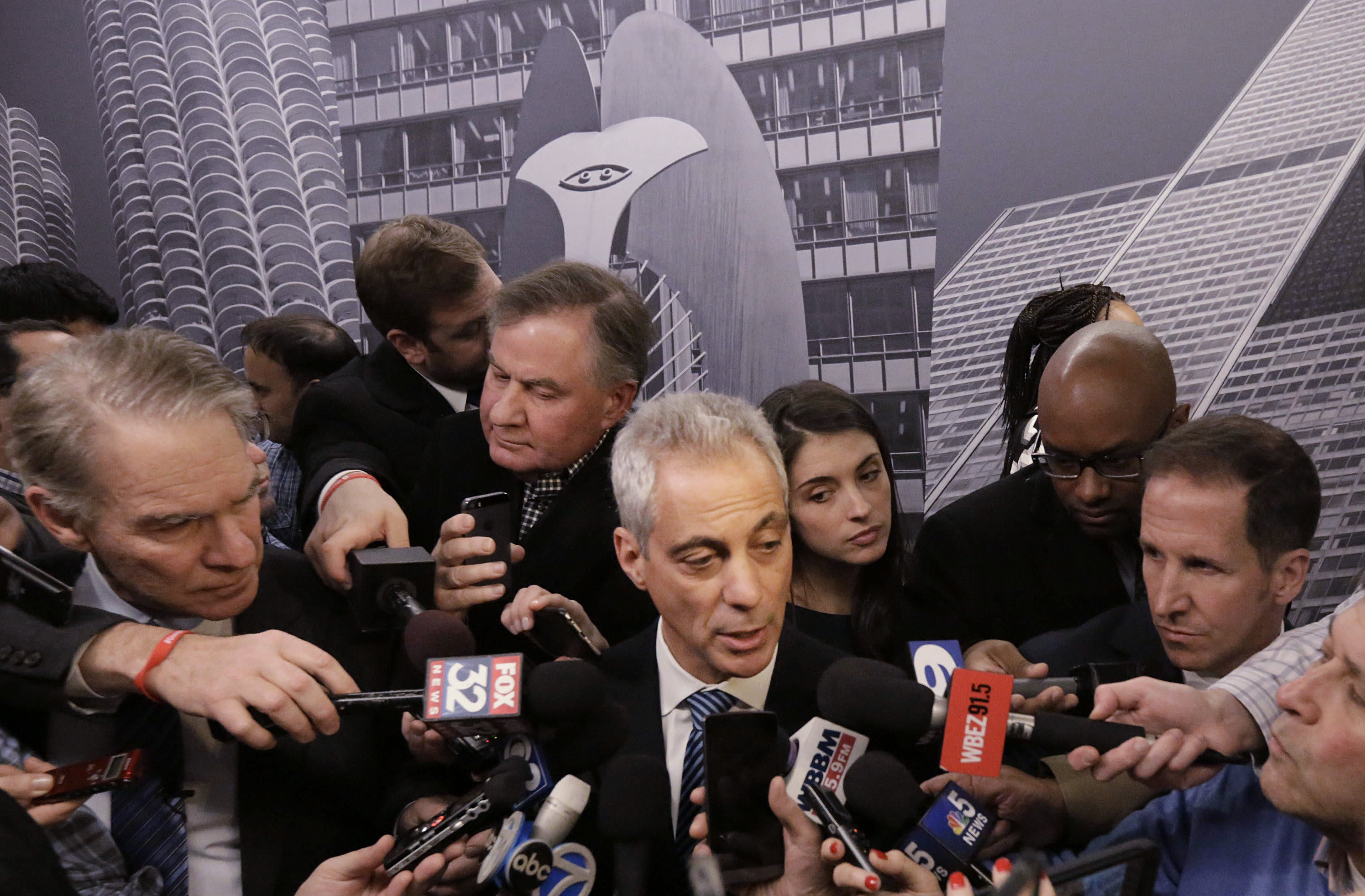Rahm Emanuel speaks to the media in Chicago on Dec. 3, 2015.