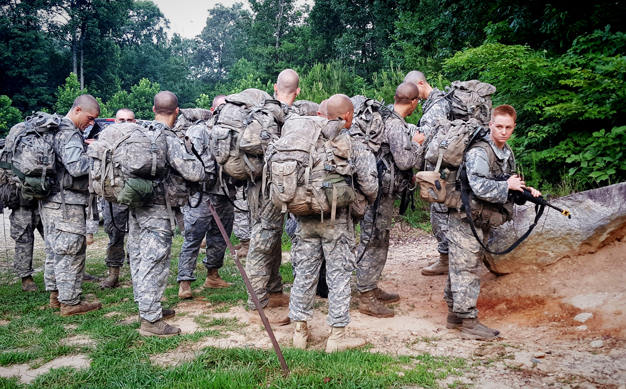 Ranger students, including one of the first women ever to take the Ranger School course, wait to ascend Mount Yonah in northern Georgias  on Tuesday, July 14, as part of the school's Mountain Phase.