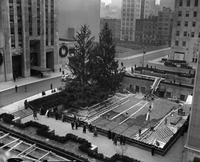 1936 Rockefeller Center Christmas Trees, celebrating the opening of the ice skating rink.