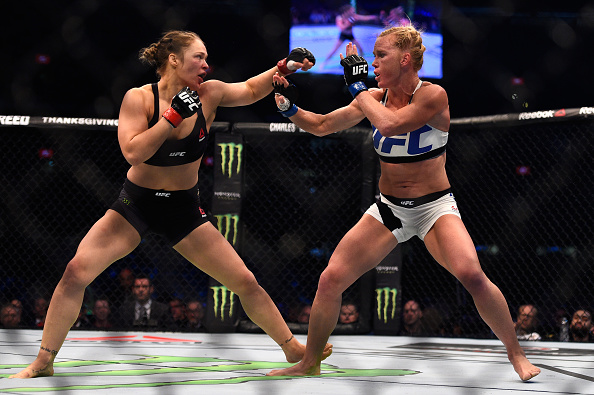 Ronda Rousey faces Holly Holm in their UFC women's bantamweight championship bout during the UFC 193 event at Etihad Stadium on November 15, 2015 in Melbourne, Australia.