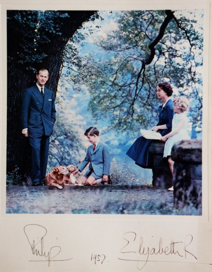 1957 Royal Christmas Card. Queen Elizabeth and the Philip, Duke of Edinburgh with their children Prince Charles and Princess Anne.