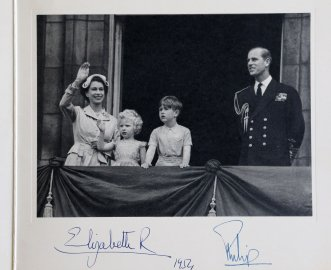 1952 Royal Christmas Card. Queen Elizabeth and Philip, Duke of Edinburgh with their children Prince Charles and Princess Anne.