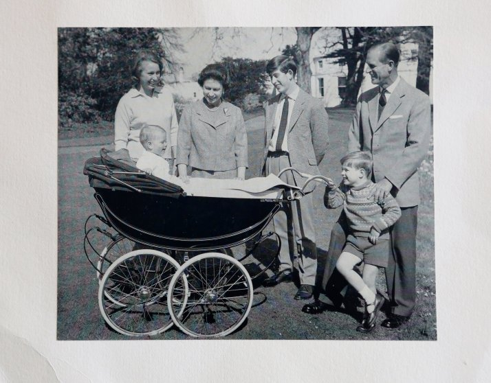 1965 Royal Christmas Card. Queen Elizabeth II and the Philip, Duke of Edinburgh with their children Princess Anne, Prince Edward, Prince Charles and Prince Andrew.