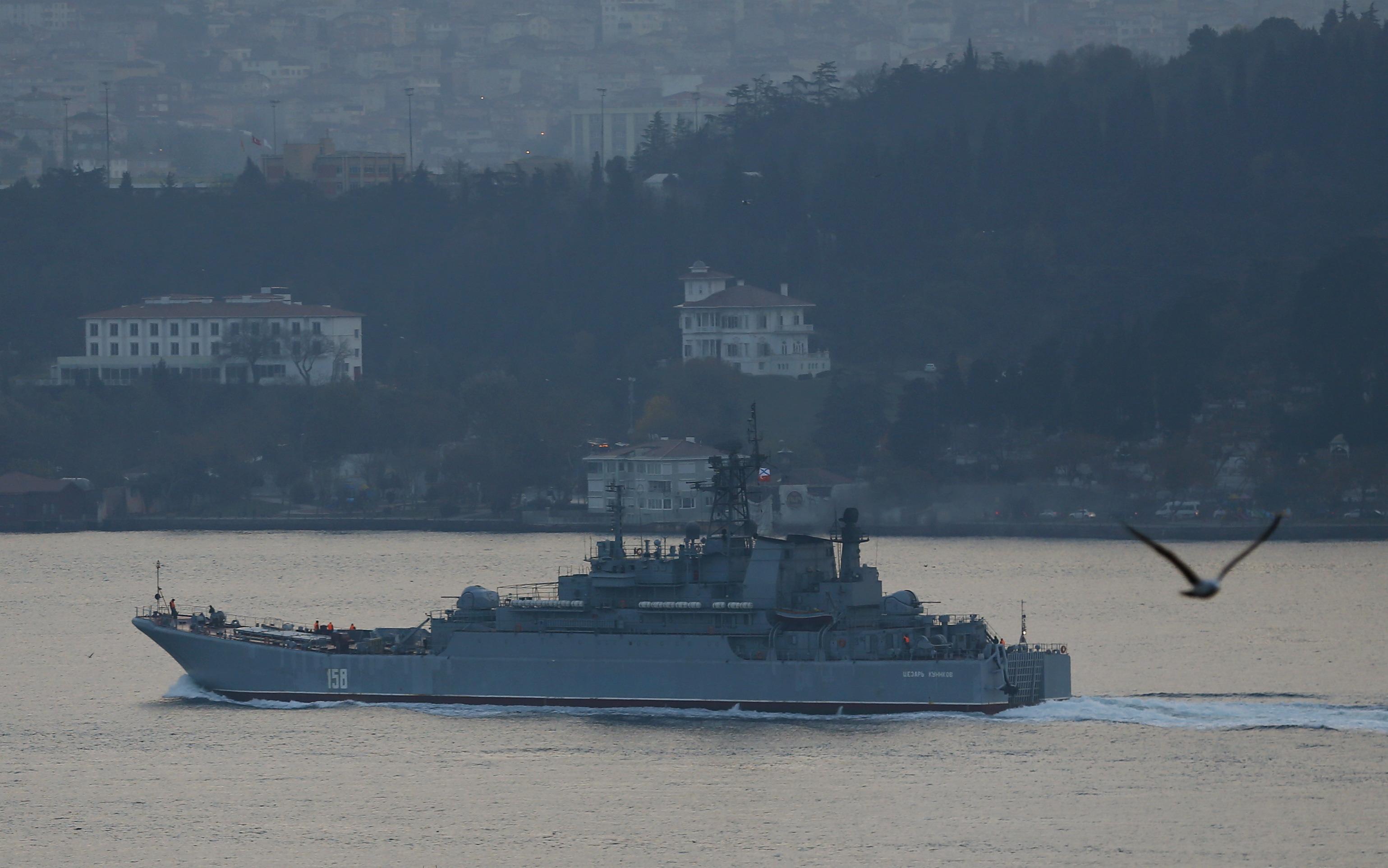 The Russian navy's large landing ship Caesar Kunikov sets sail in the Bosporus toward the Black Sea, in Istanbul on Nov. 25, 2015