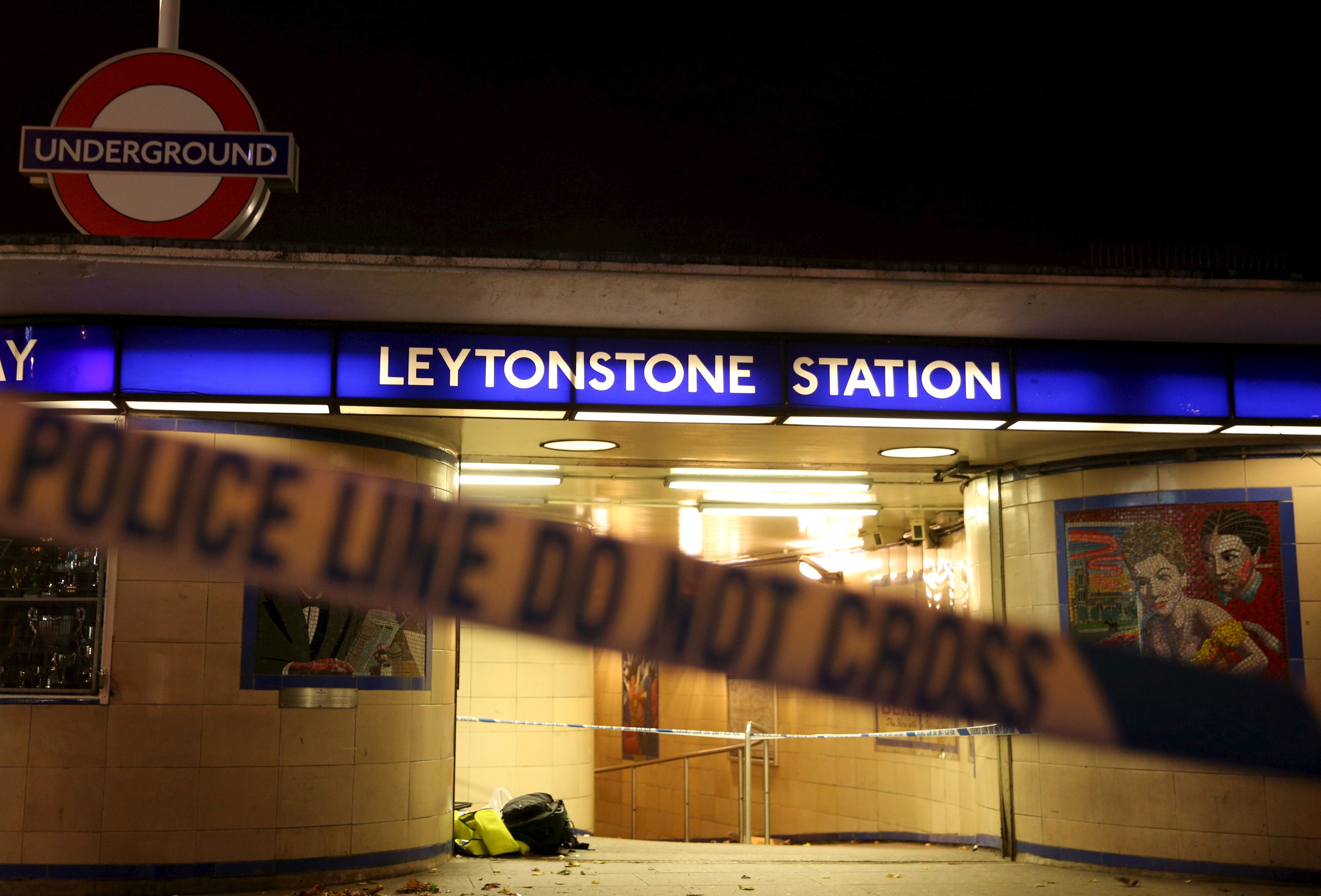 Police tape is seen at a crime scene at Leytonstone underground station in East London on Dec. 6, 2015. Police were called to reports of a number of people stabbed at the station in East London and a man threatening other people with a knife