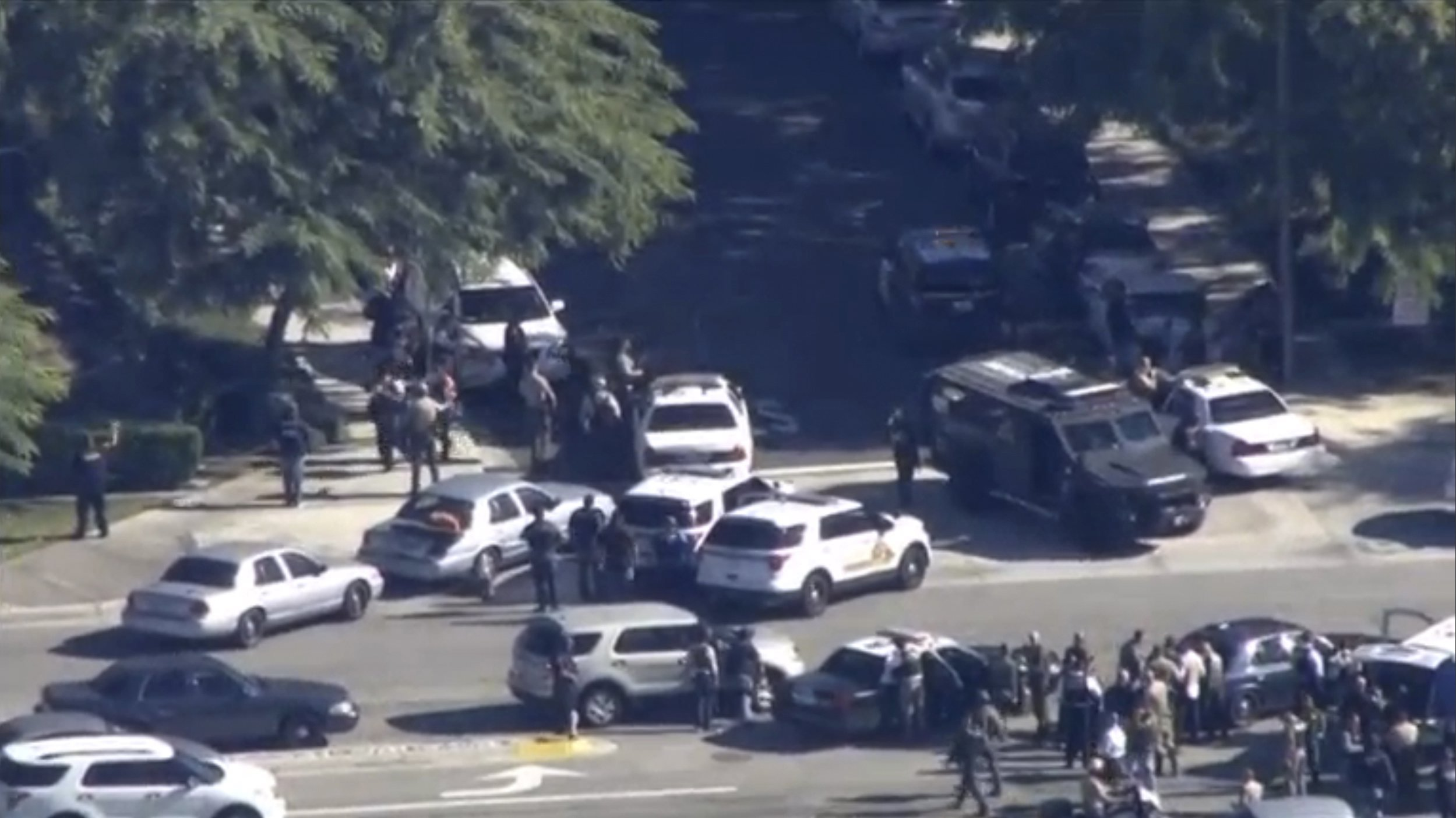 First responders responding to a shooting at the California Department of Developmental Services Inland Regional Center in San Bernardino, CA on Dec. 2, 2015.
