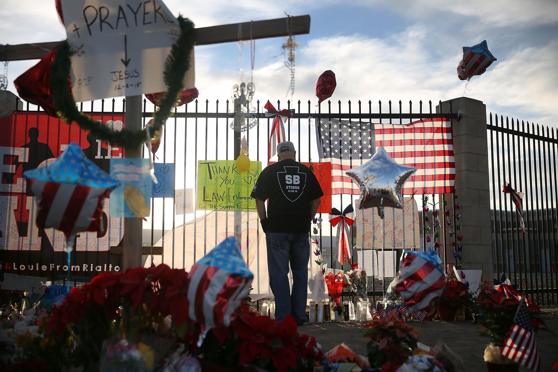 David Santos visits a memorial on Dec. 7, 2015 in San Bernardino, Calif.