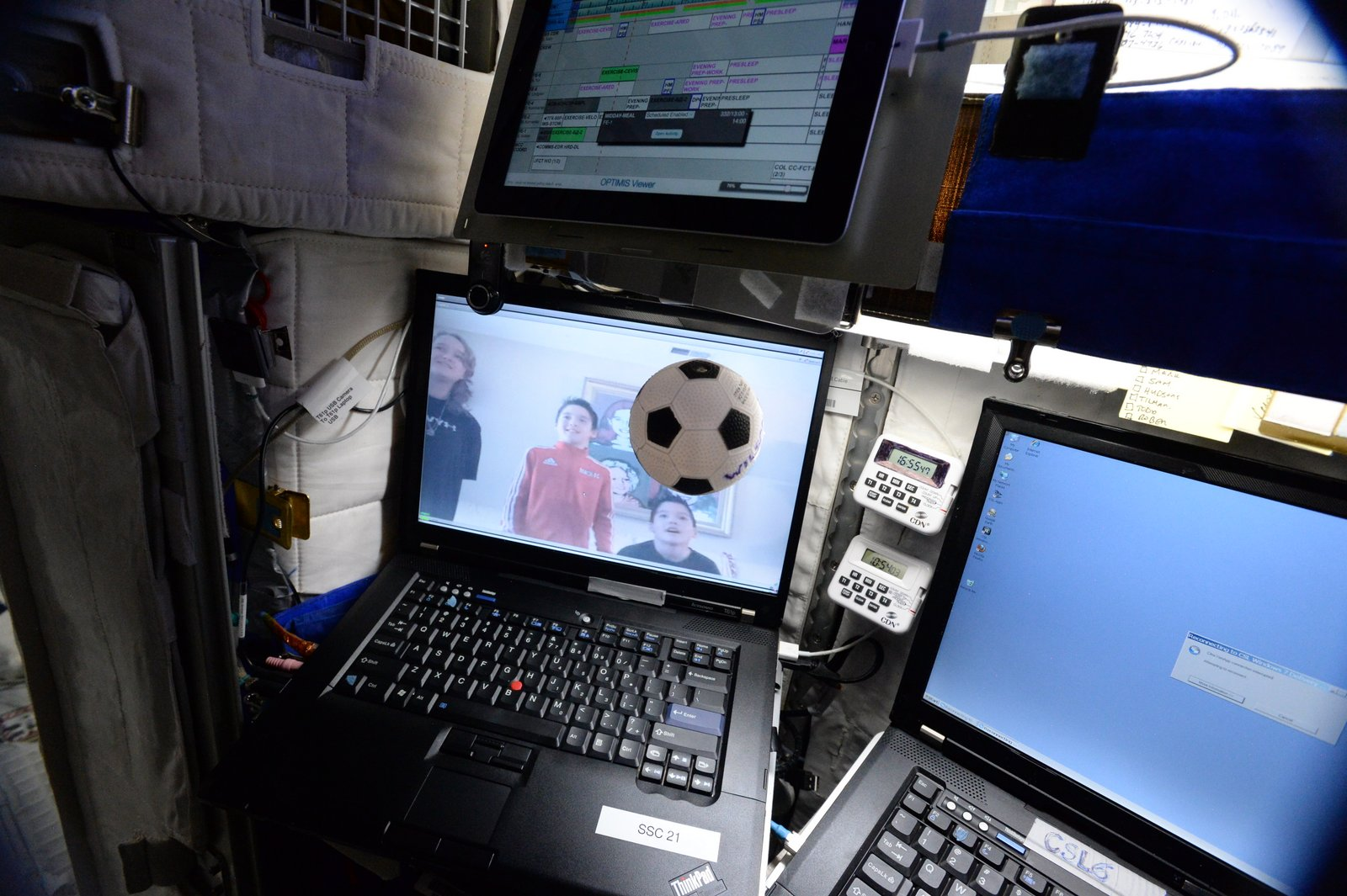 A soccer ball floats in weightlessness inside Astronaut Scott Kelly's crew quarters during a family video conference aboard the International Space Station in November.