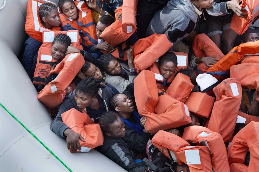 African migrants are rescued from their dinghy by MSF. The ship Bourbon Argos was patrolling the waters off Libya when it encountered a dinghy carrying 93 migrants of different nationalities, including 31 women.