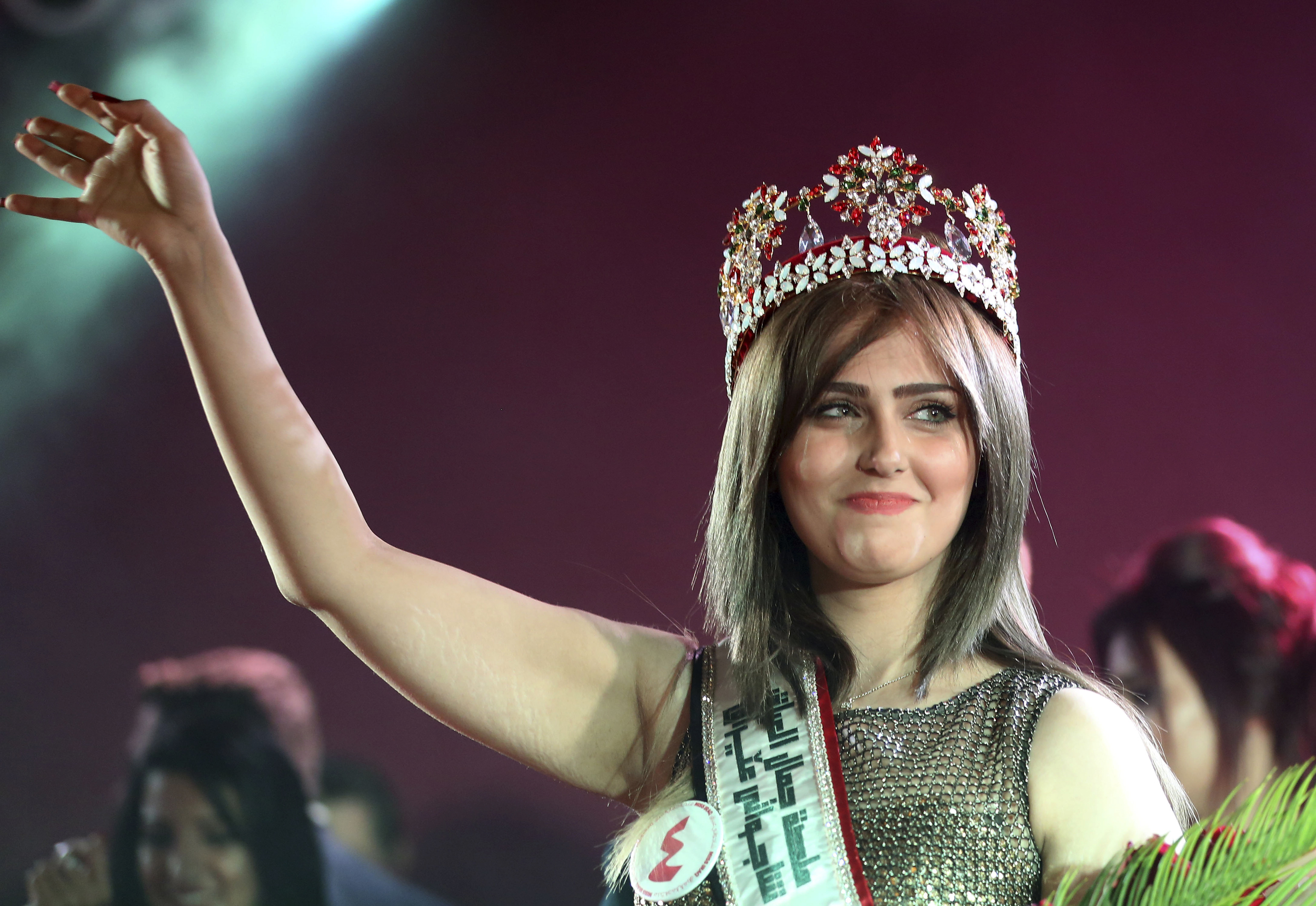 Shaima Qassim, celebrates after being crowned at the end of the 2015 Miss Iraq Final in Baghdad, Iraq on Dec. 19, 2015.