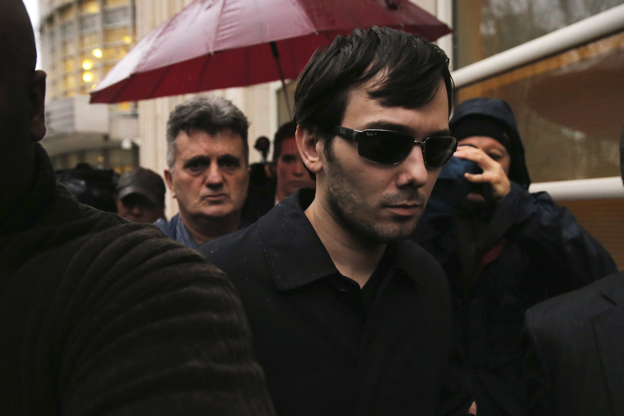 Martin Shkreli, chief executive officer of Turing Pharmaceuticals and KaloBios Pharmaceuticals, departs U.S. Federal Court in New York City on Dec. 17, 2015