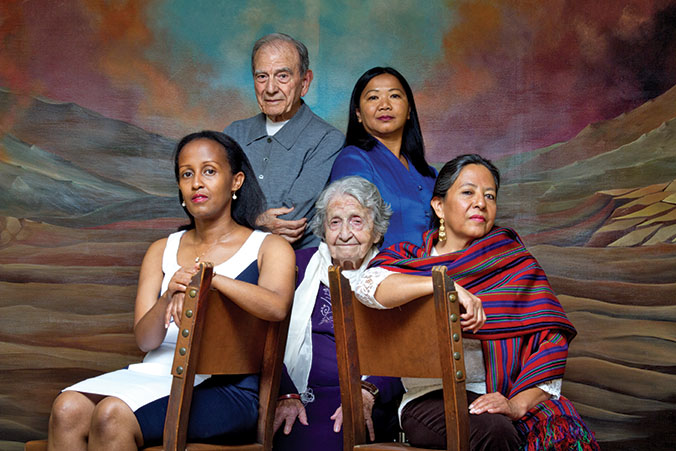 Clockwise from left: Genocide survivors Umugiraneza, Gabbai, Pol-Lim, Garrido and Salibian, who died in August at 101.