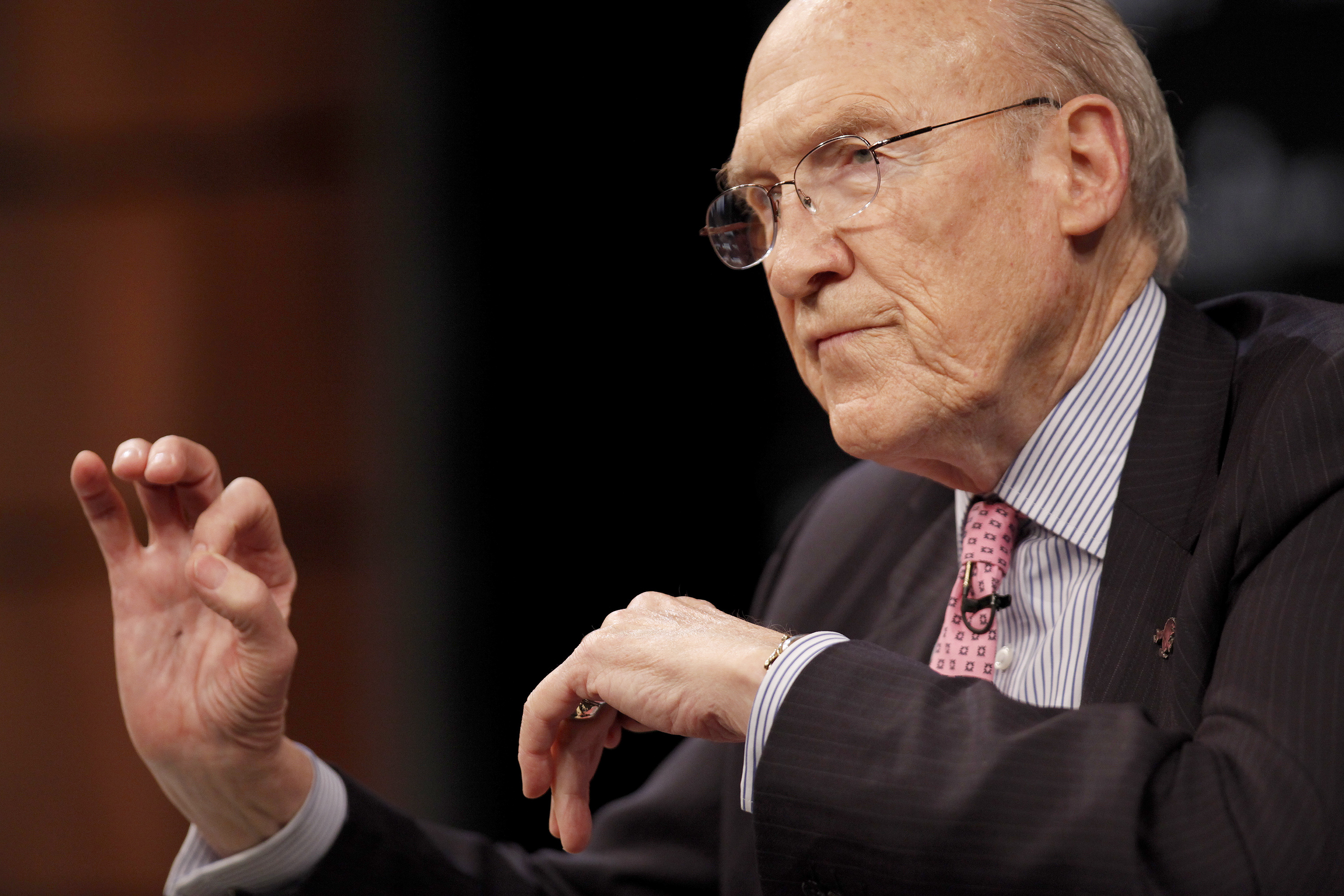 Alan Simpson, former co-chairman of the National Commission on Fiscal Responsibility and Reform, speaks during the Moment Of Truth Project event in Washington, D.C., U.S., on April 19, 2013.