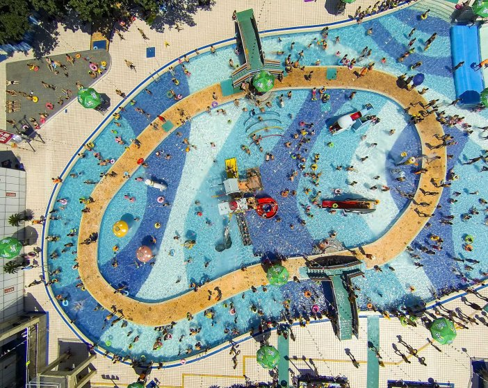 An overhead view of a pool in China.