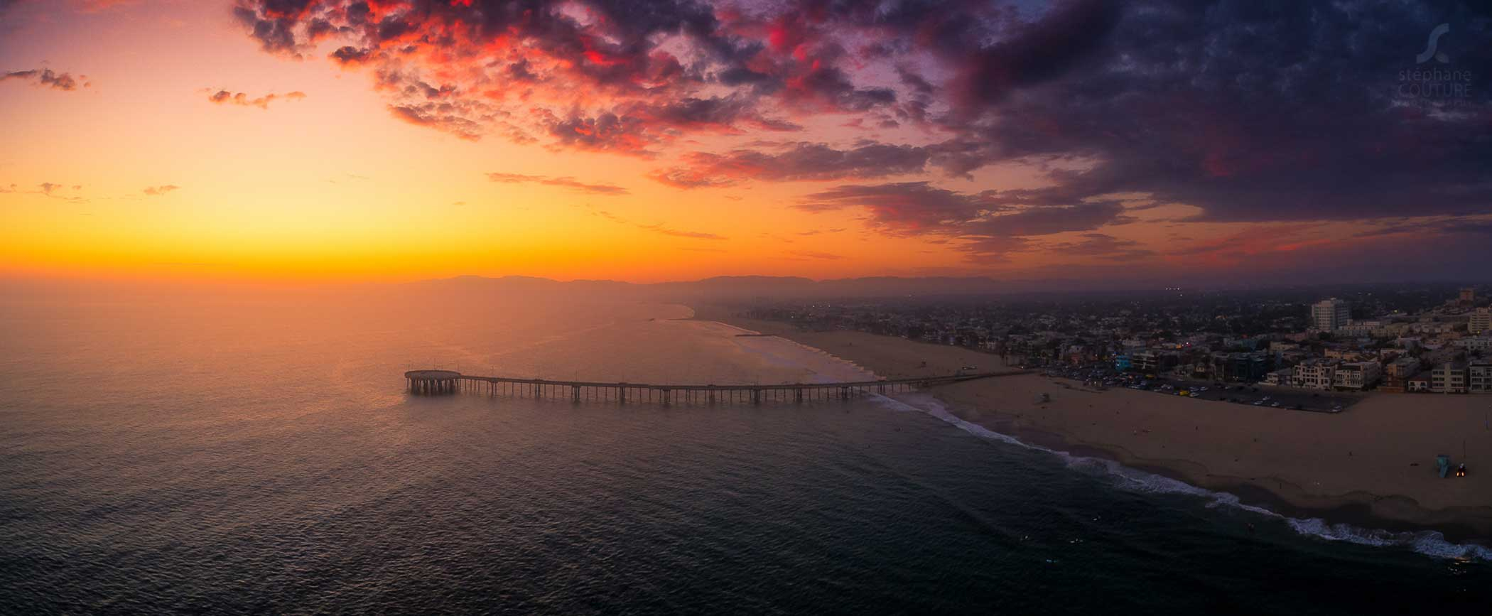 Sunset over Venice Pier in Los Angeles.
