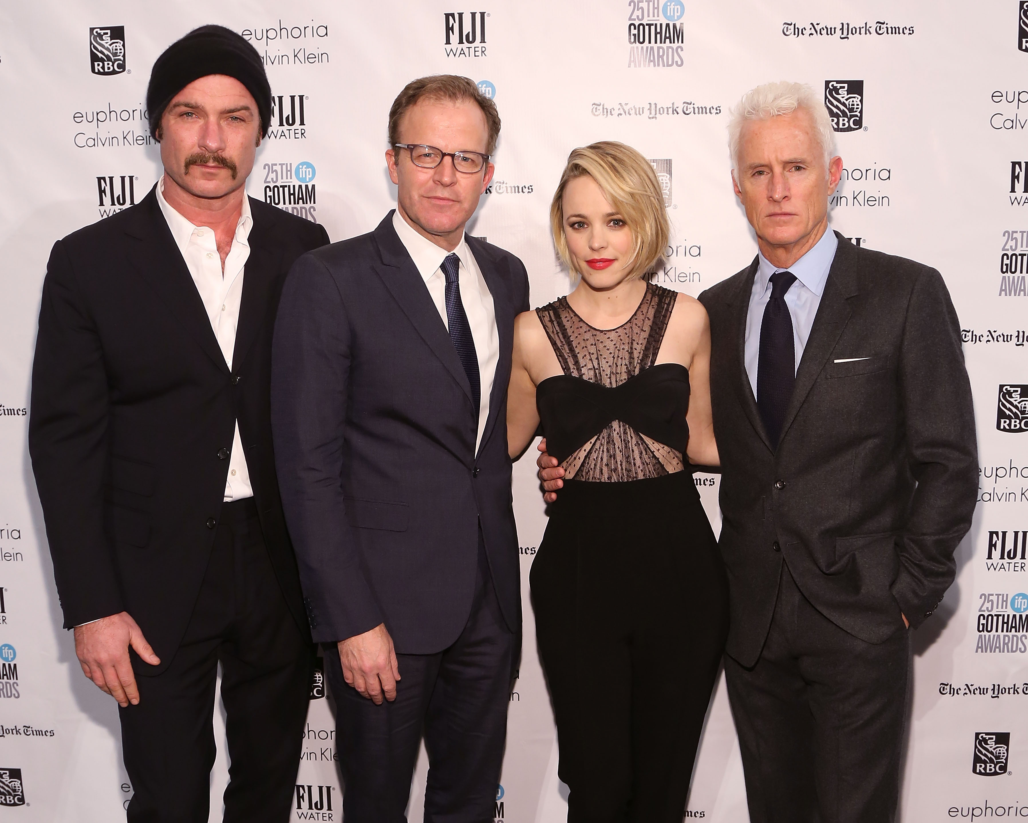 (L-R) Liev Schreiber, Thomas McCarthy, Rachel McAdams, and John Slattery attend the 25th Annual Gotham Independent Film Awards on November 30, 2015 in New York City.