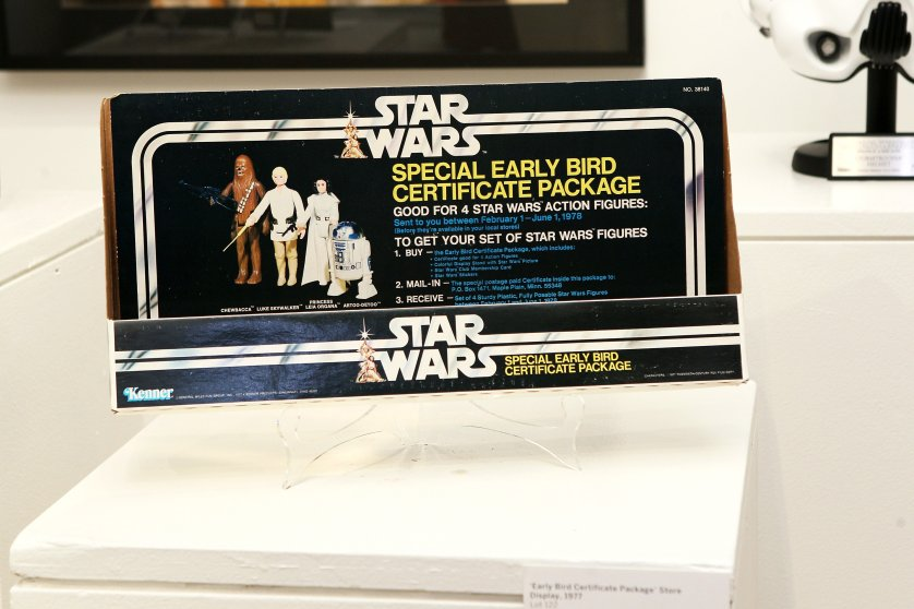 "An ""Early Bird Certificate Package"" from Star Wars is displayed at Sotheby's in New York City on Dec. 2, 2015."