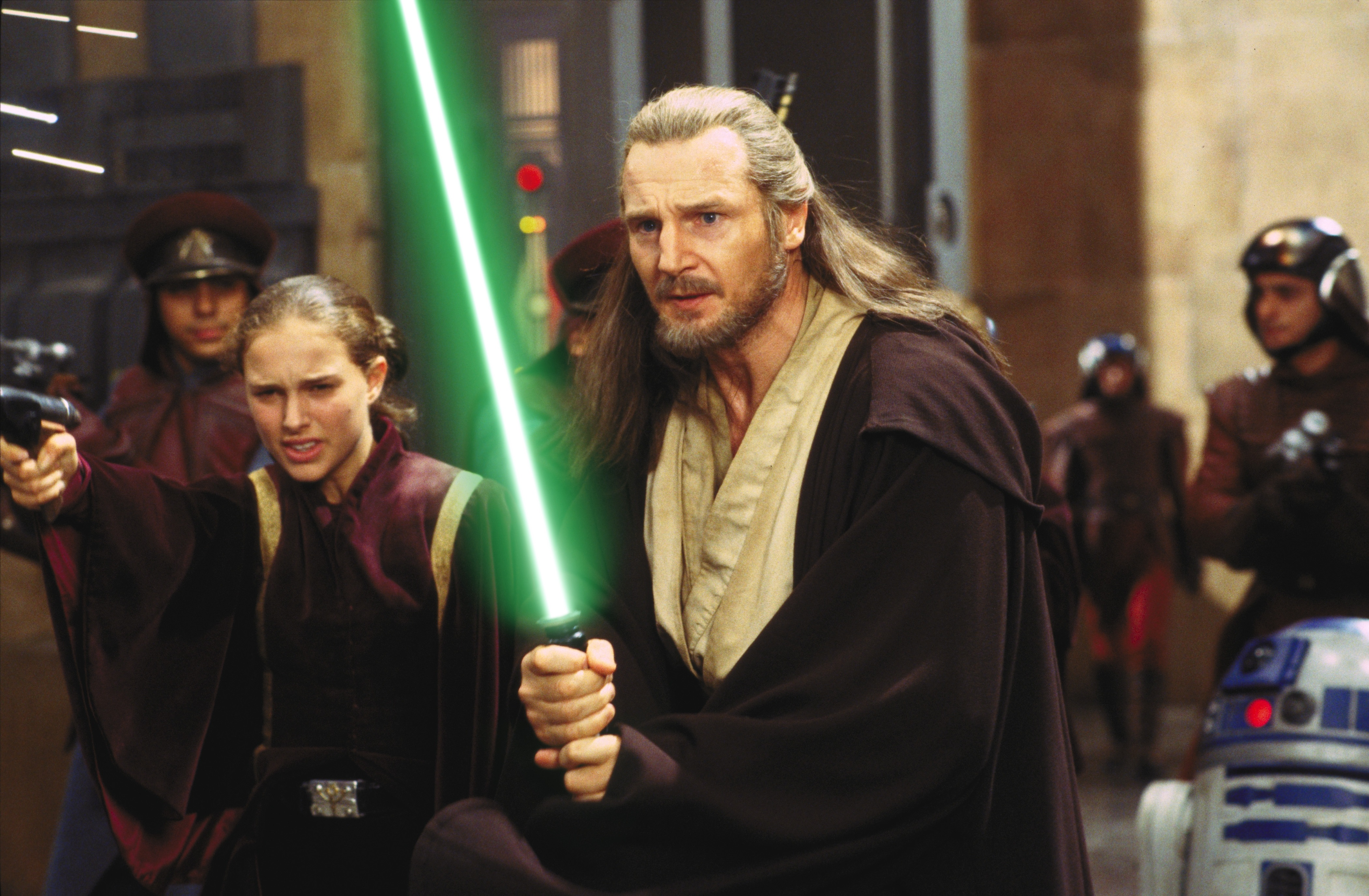 Liam Neeson and Natalie Portman in  Star Wars: Episode I - The Phantom Menace .
