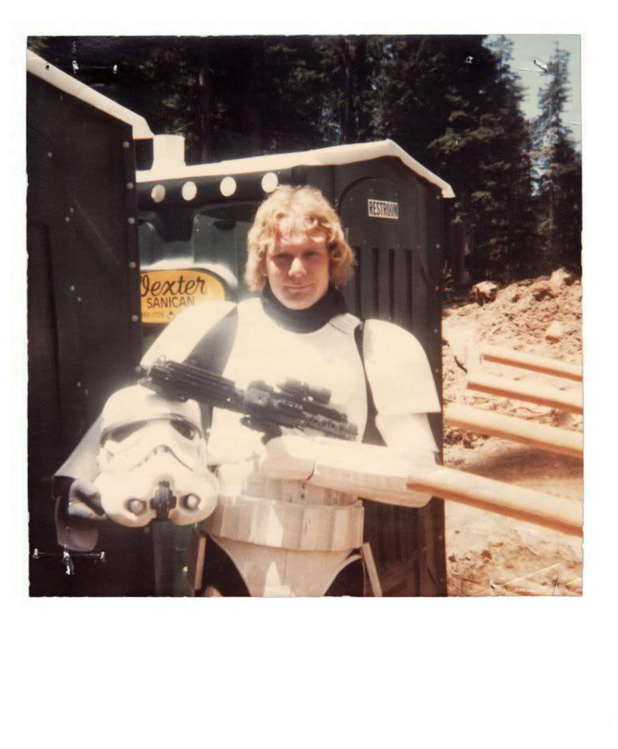 Stormtrooper on the set of Return of the Jedi
