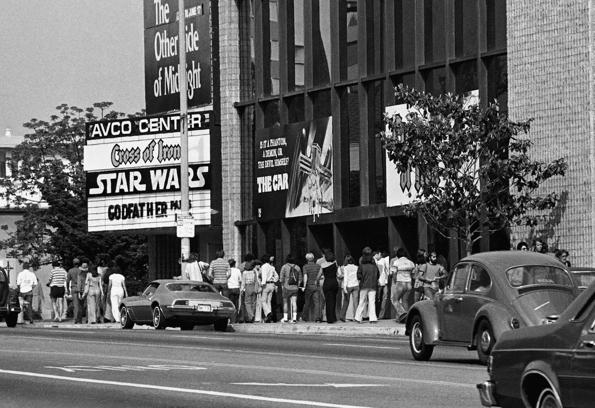 Theater goers waiting in lines on June 7, 1977, at Avco Center Theater in Los Angeles to see Star Wars