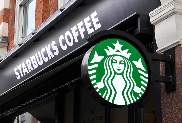 A general view of signage of a Starbucks Coffee shop in Camden Town on November 28, 2015 in London, England.