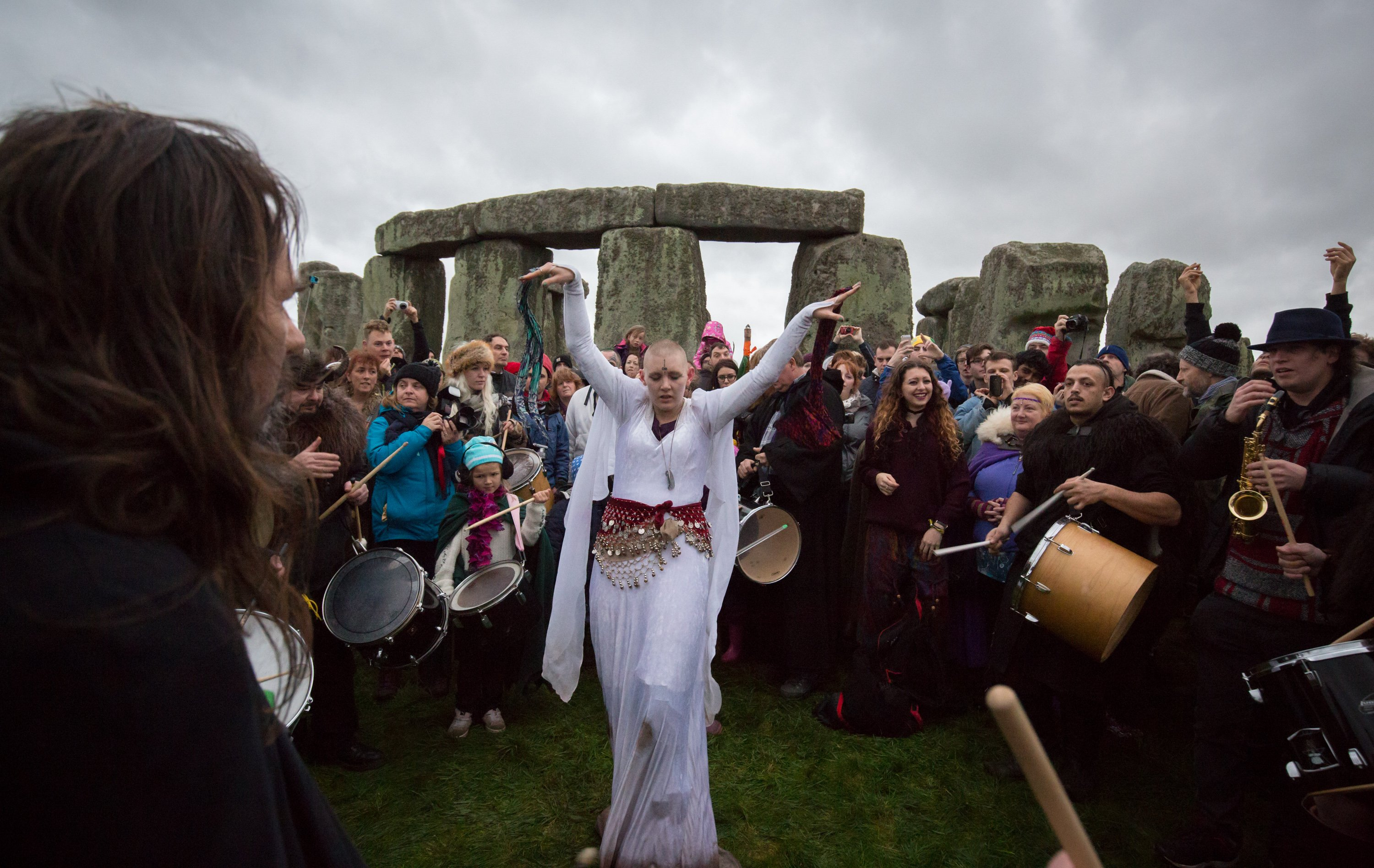 Druids, pagans and revellers gather at Stonehenge on Dec. 22, 2015 in Wiltshire, England.