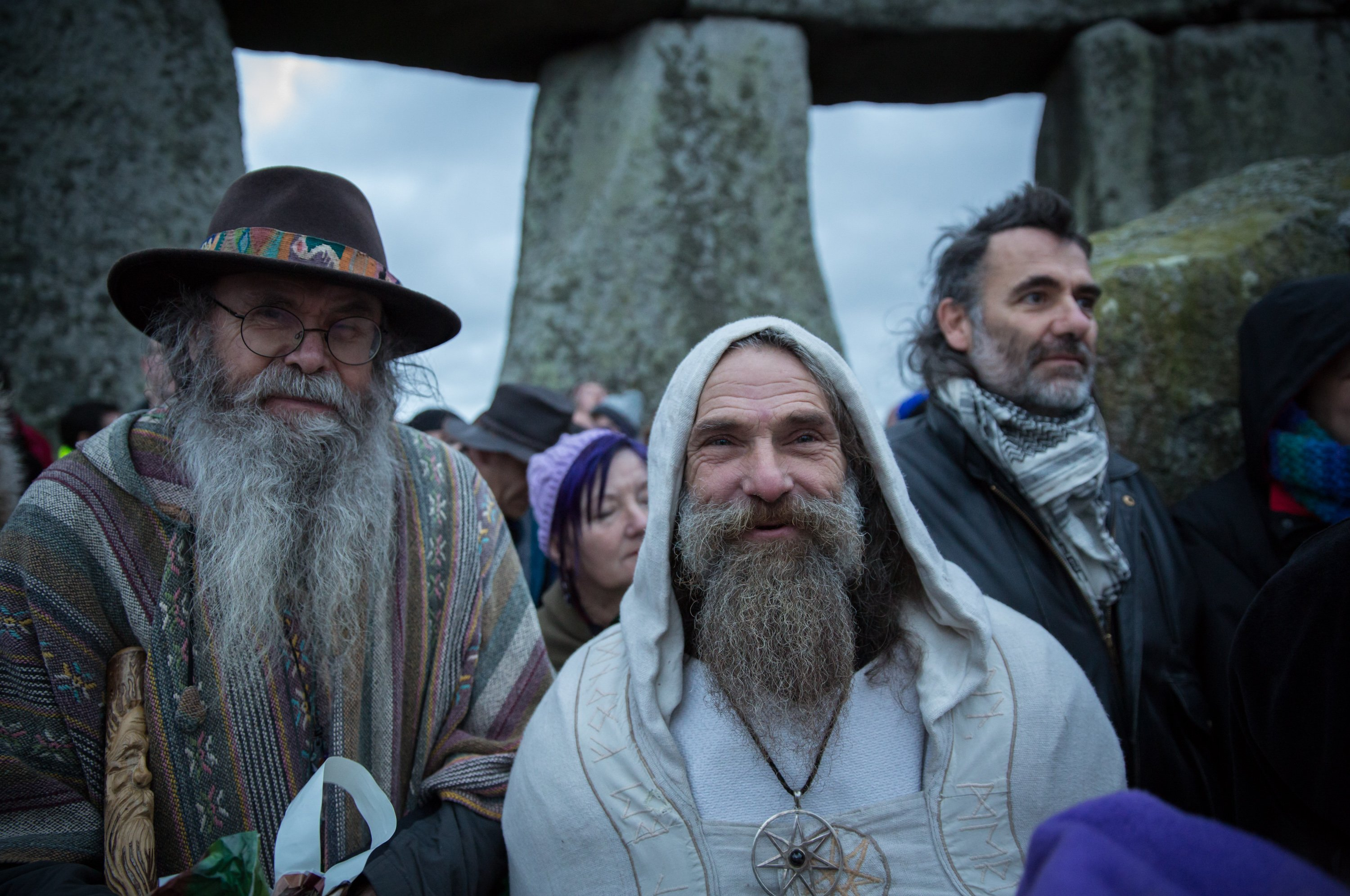 Druids, pagans and revelers gather in the centre of Stonehenge on Dec. 22, 2015 in Wiltshire, England.