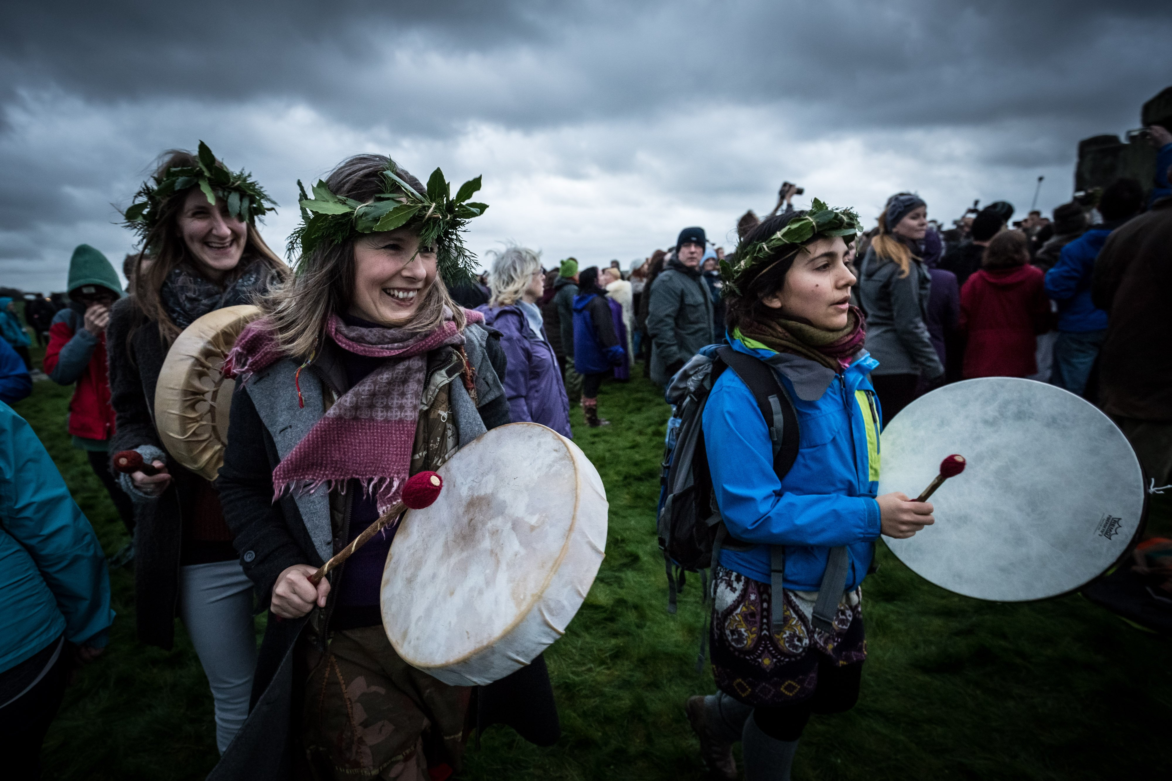 Revelers gather near the ancient stones at Stonehenge on Salisbury Plain, UK to celebrate the first day of winter, on Dec. 22, 2015.