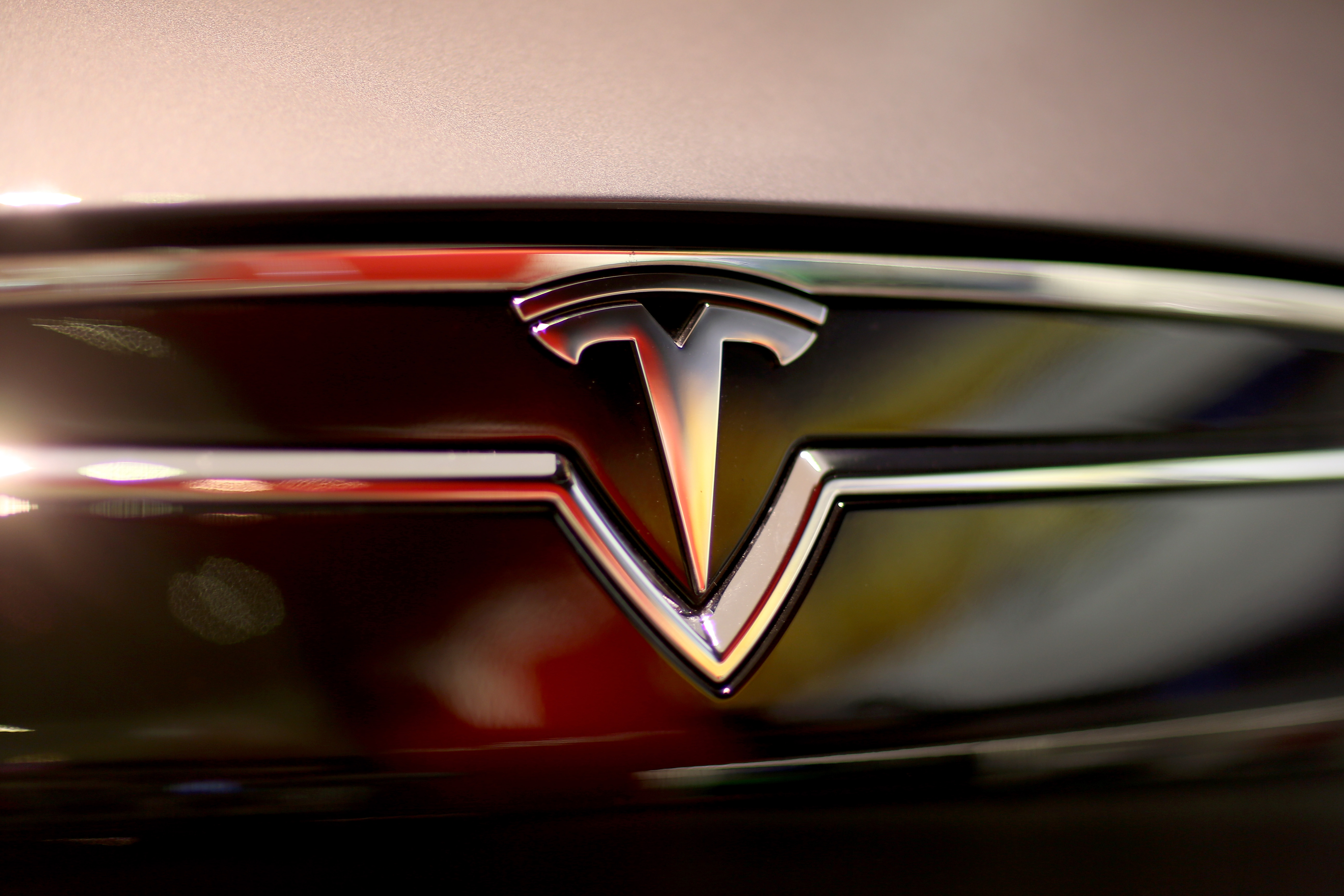 Tesla's iconic logo, as seen on one of their car models.