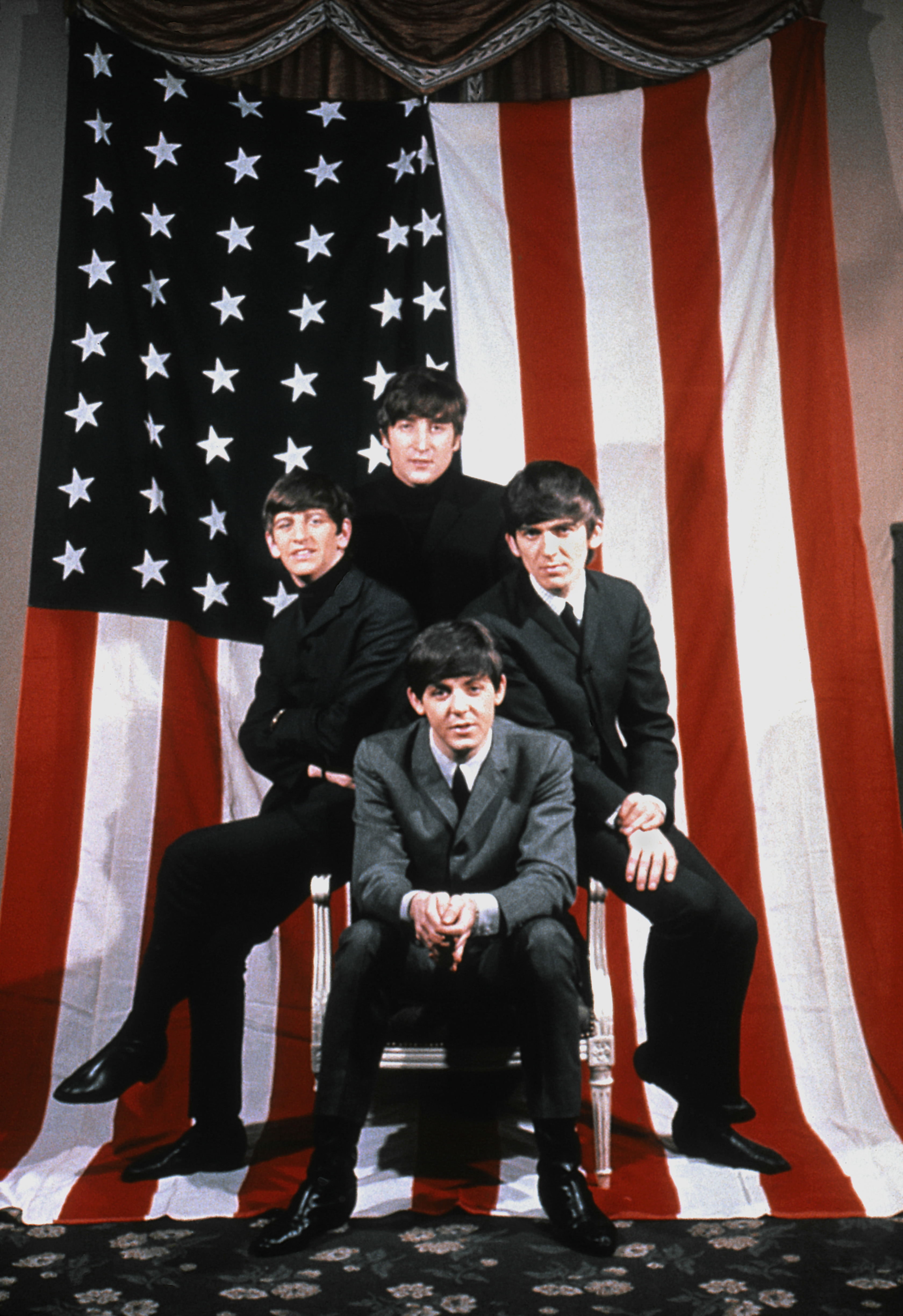 The Beatles (clockwise from top John Lennon, Ringo Starr, Paul McCartney and George Harrison) in New York City in 1964.