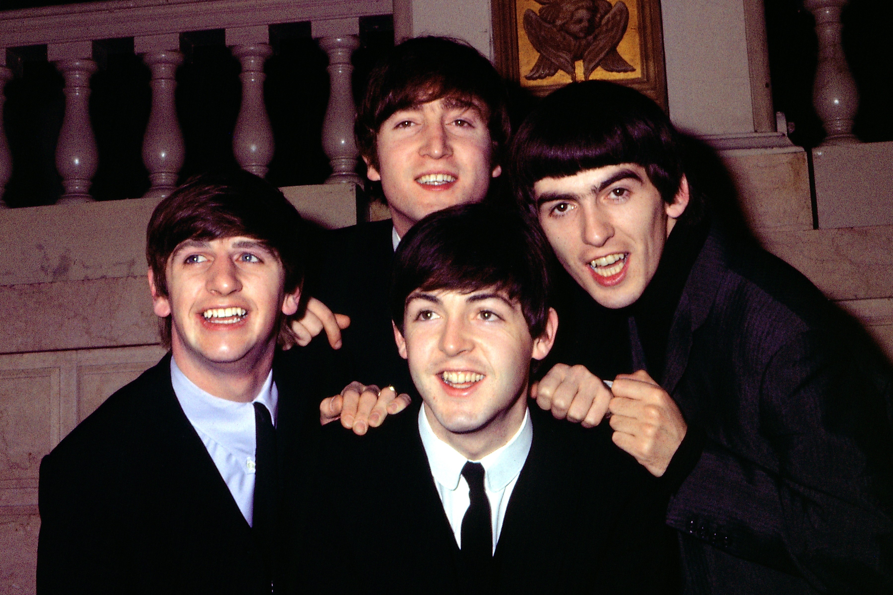 (L-R) Ringo Starr, John Lennon, Paul McCartney and George Harrison of The Beatles pose for a portrait in circa 1964.