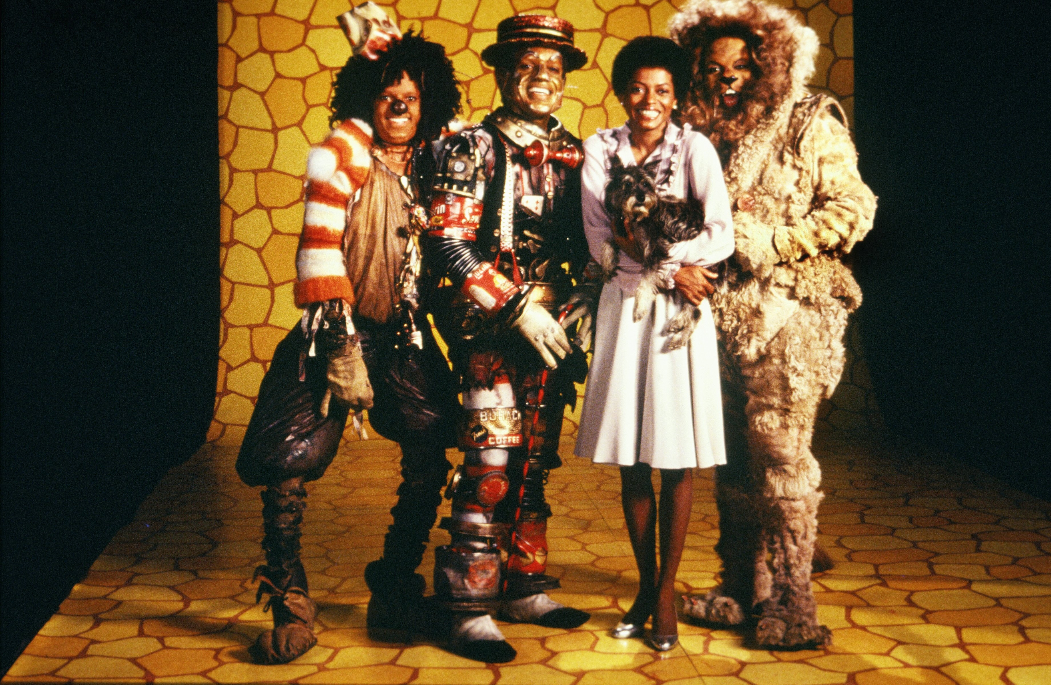The cast of 'The Wiz' (L-R Michael Jackson, Nipsey Russell, Diana Ross and Ted Ross) pose for a publicity shot in 1978 in New York, New York.