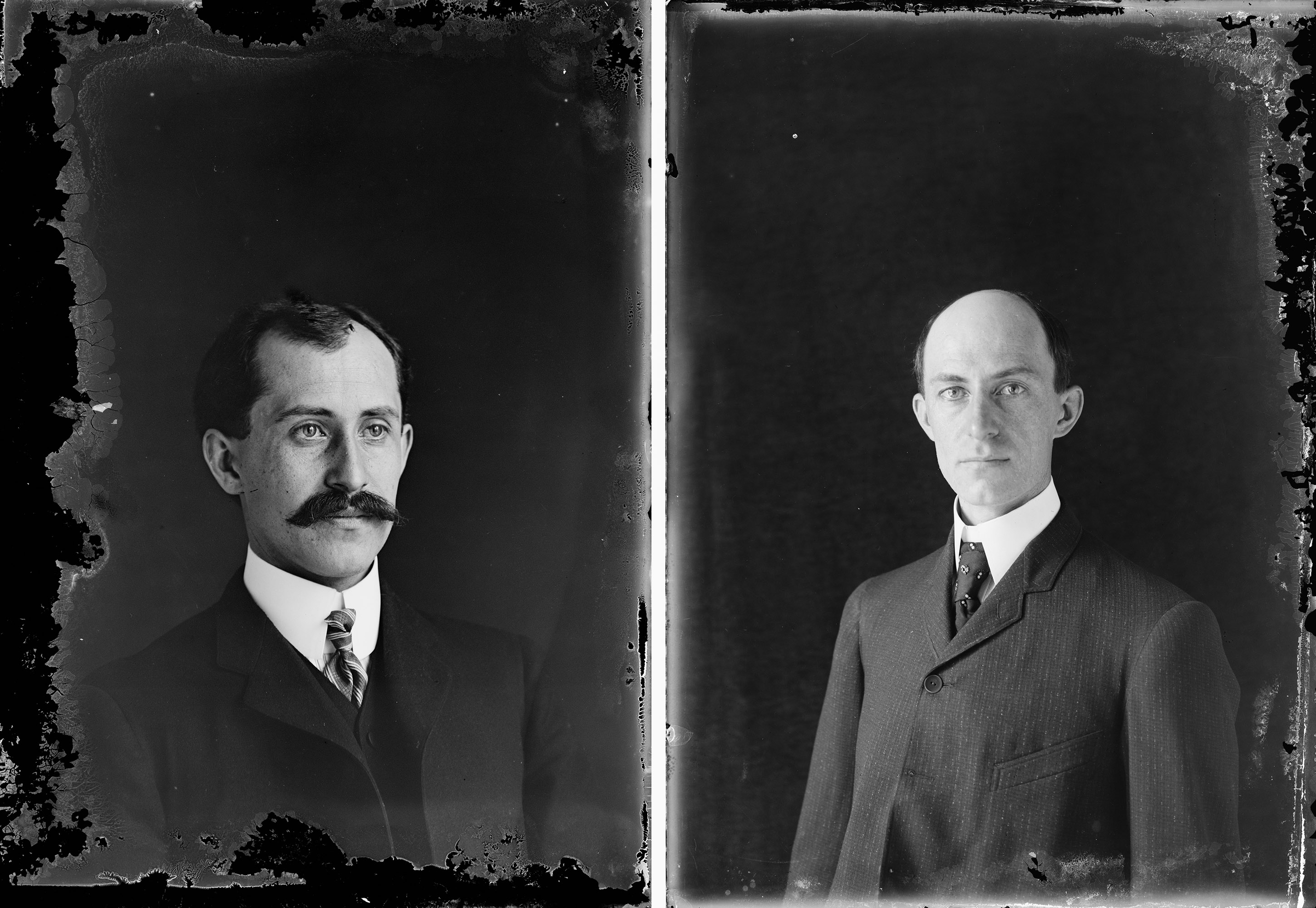 Dry plate, glass negatives from 1905 of Orville Wright at age 34 and Wilbur Wright at 38.