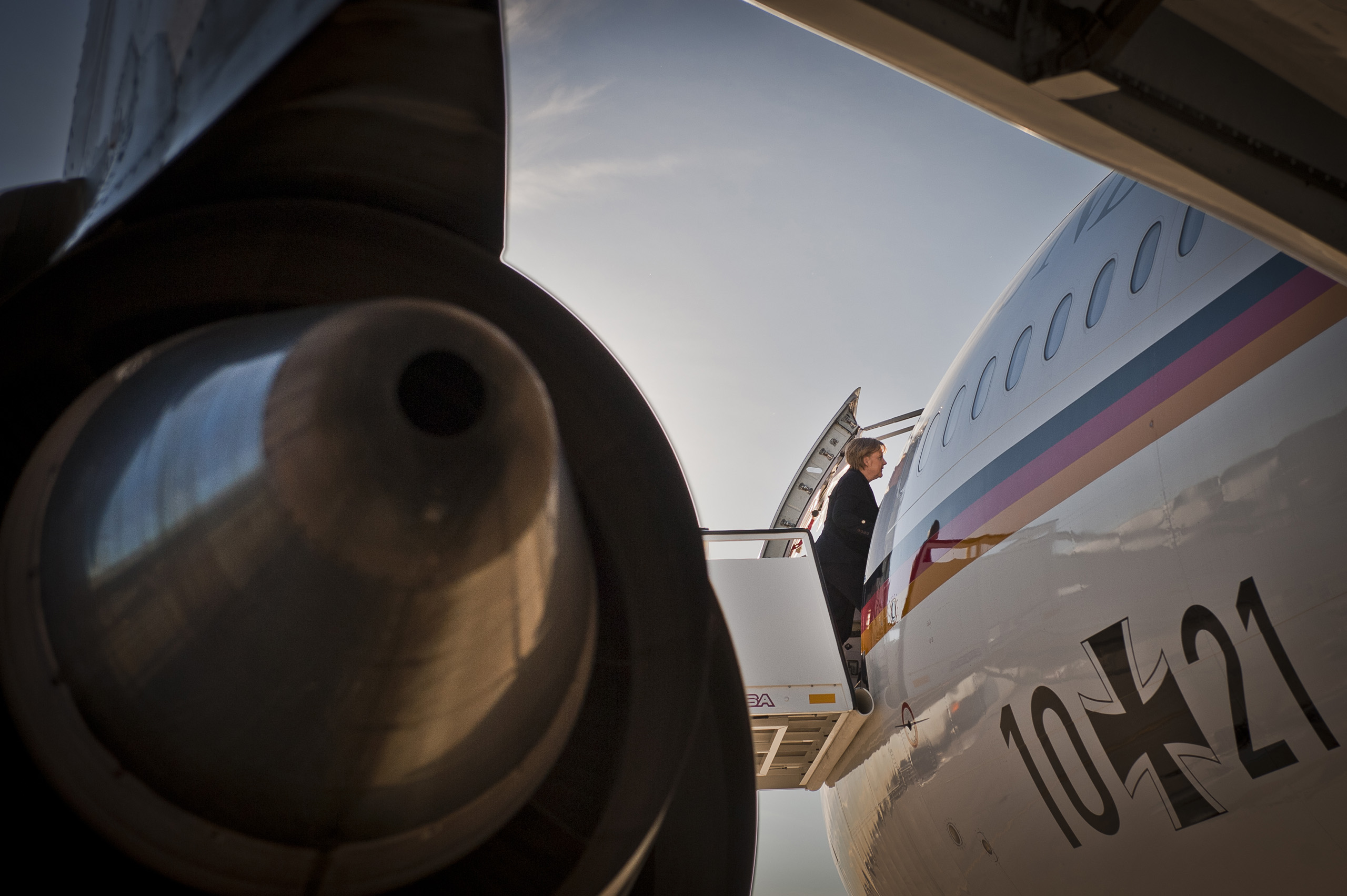 After the German-Spanish Government consultations chancellor Angela Merkel boards her plane on the airport of Madrid to return to Berlin.  Feb. 3, 2011.