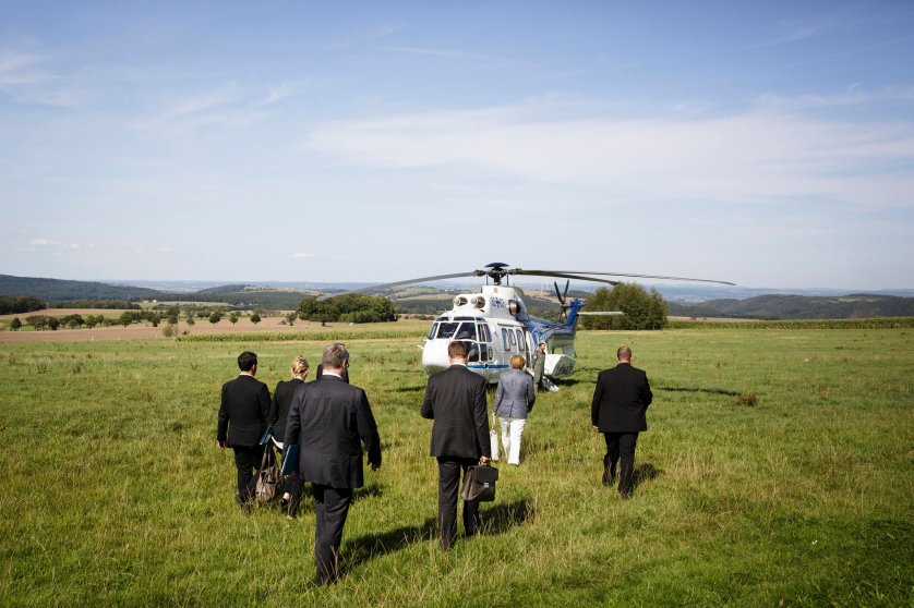 Chancellor Angela Merkel about to bord a police helicopter after a visit at renowned German watch manufacturer Lange in Glashütte. Sept. 20, 2010.