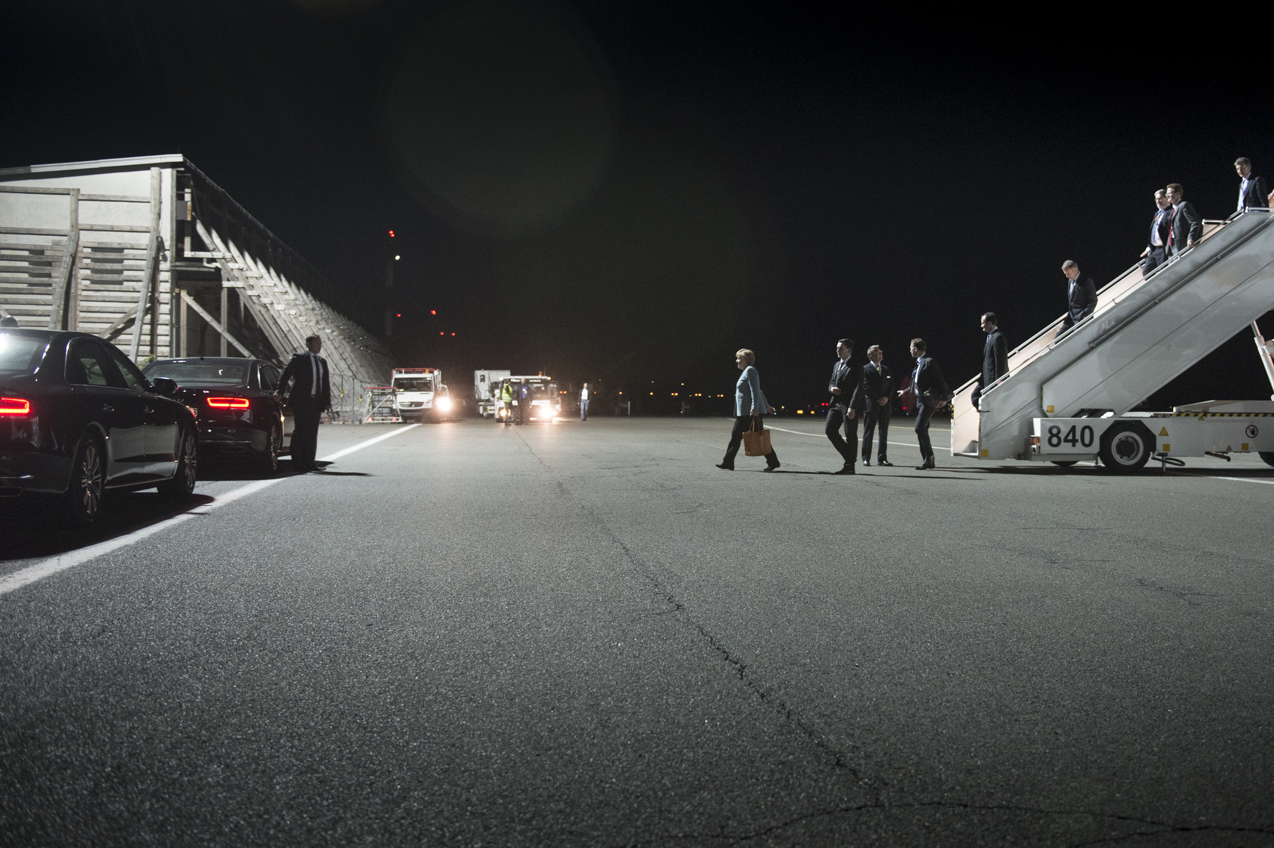 Chancellor Merkel returns to Berlin airport at 3 AM after a meeting at the European Council in Brussels. May 24, 2012.