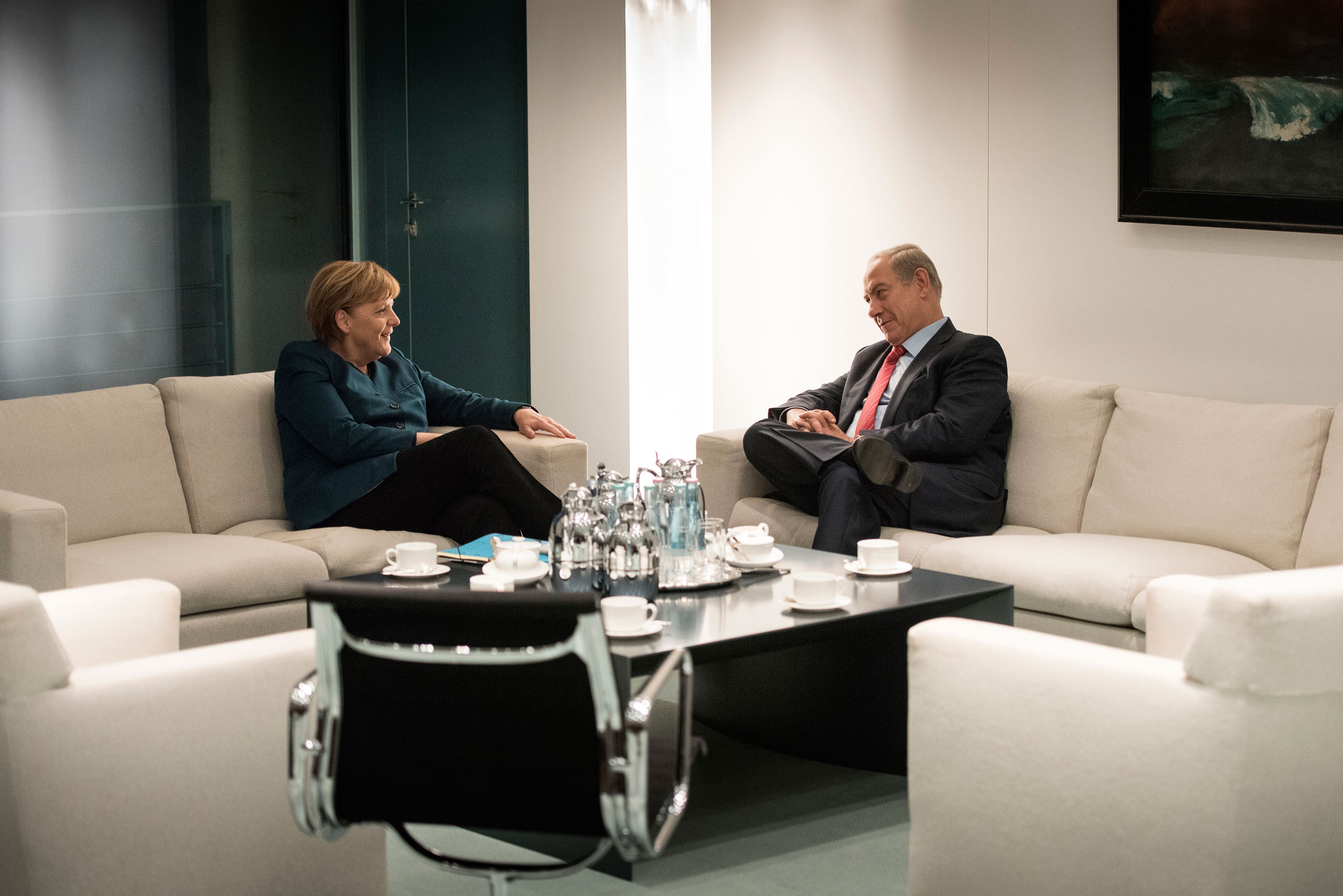 October: Chancellor Angela Merkel and Israeli Prime Minister Benjamin Netanyahu talk at the Federal Chancellery on Oct. 21, 2015 in Berlin.