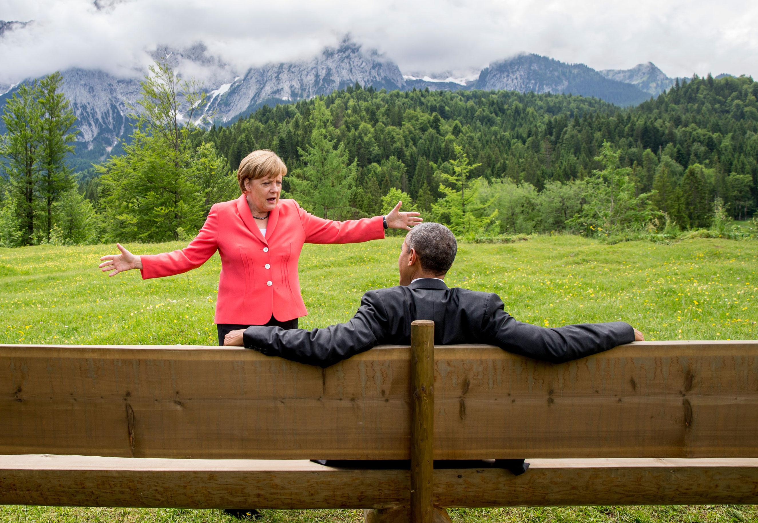 June: Chancellor Angela Merkel speaks with U.S. President Barack Obama outside the Elmau castle in Kruen near Garmisch-Partenkirchen, Germany on June 8, 2015 during the G7 summit.