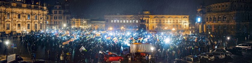 """A right wing demonstration organized by the anti-Islamic movement called """"Pegida"""" in Dresden, Germany. The protests take place each Monday evening."""