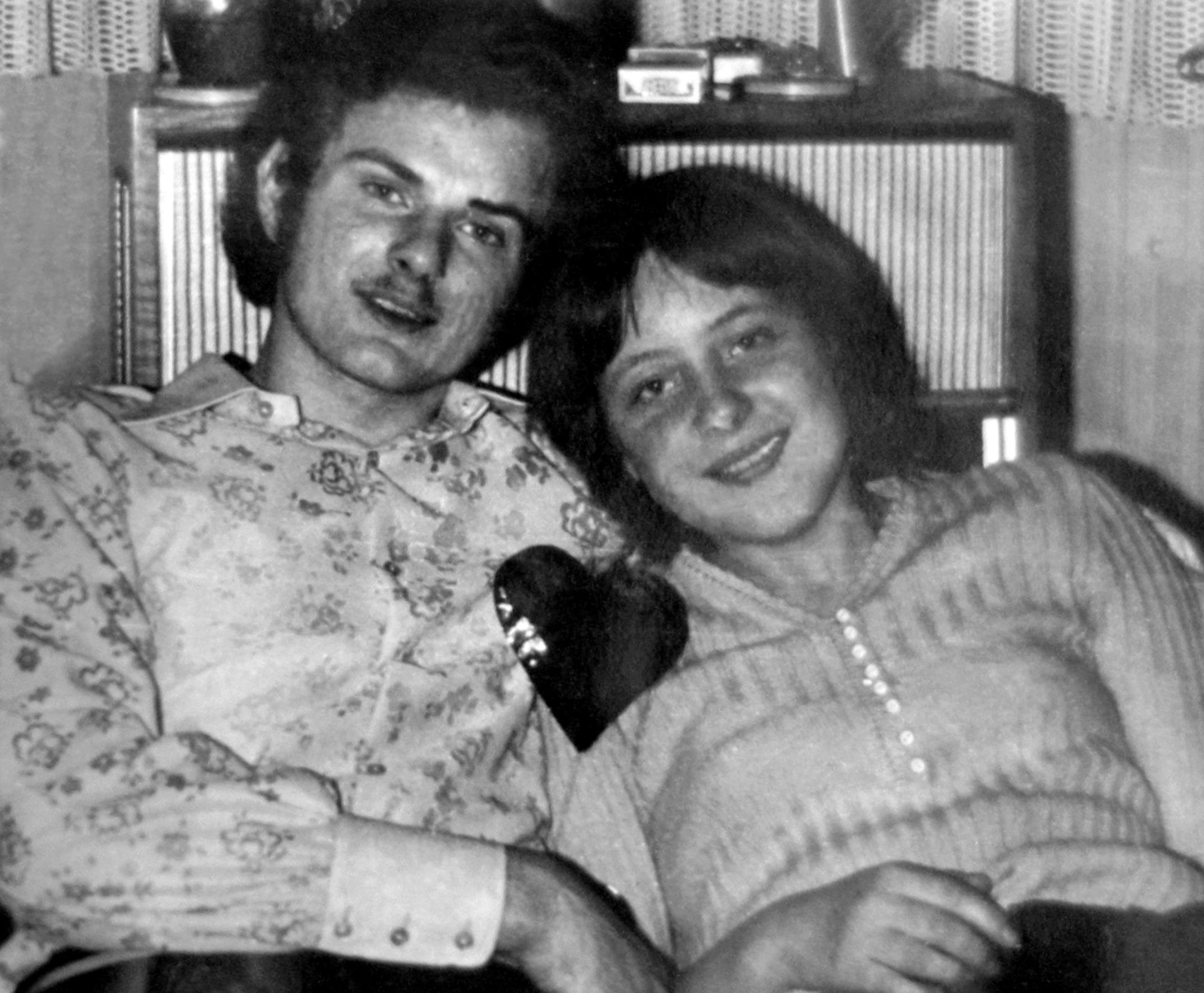 Angela Kasner with a friend at a New Year's Eve party in Berlin in 1972.