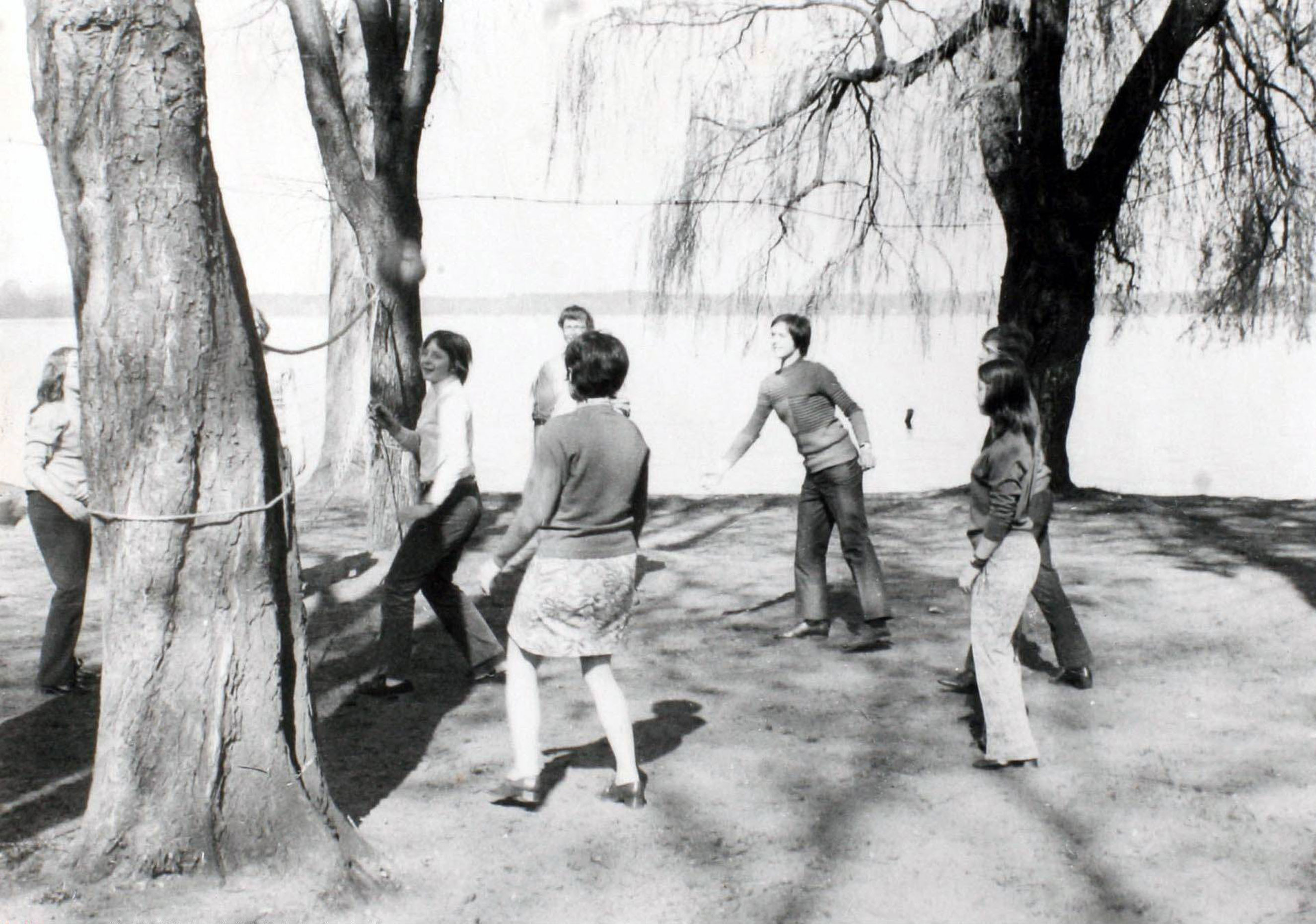 Angela Kasner plays volleyball during a school outing in Wandlitz near Berlin in 1972.