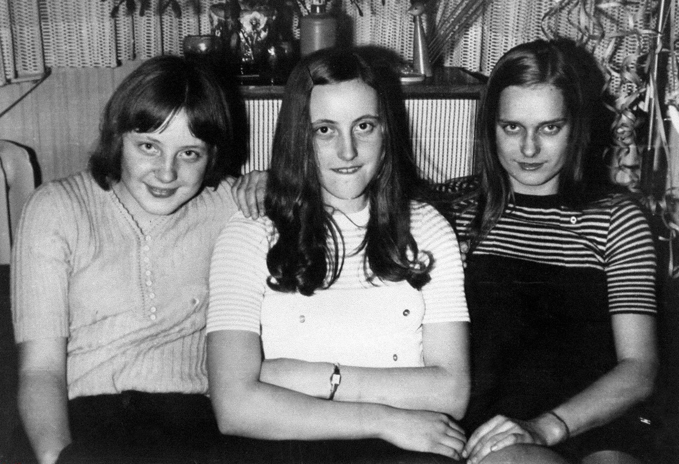 Angela Kasner, 18, with friends at a New Year's Eve party in Berlin in 1972.