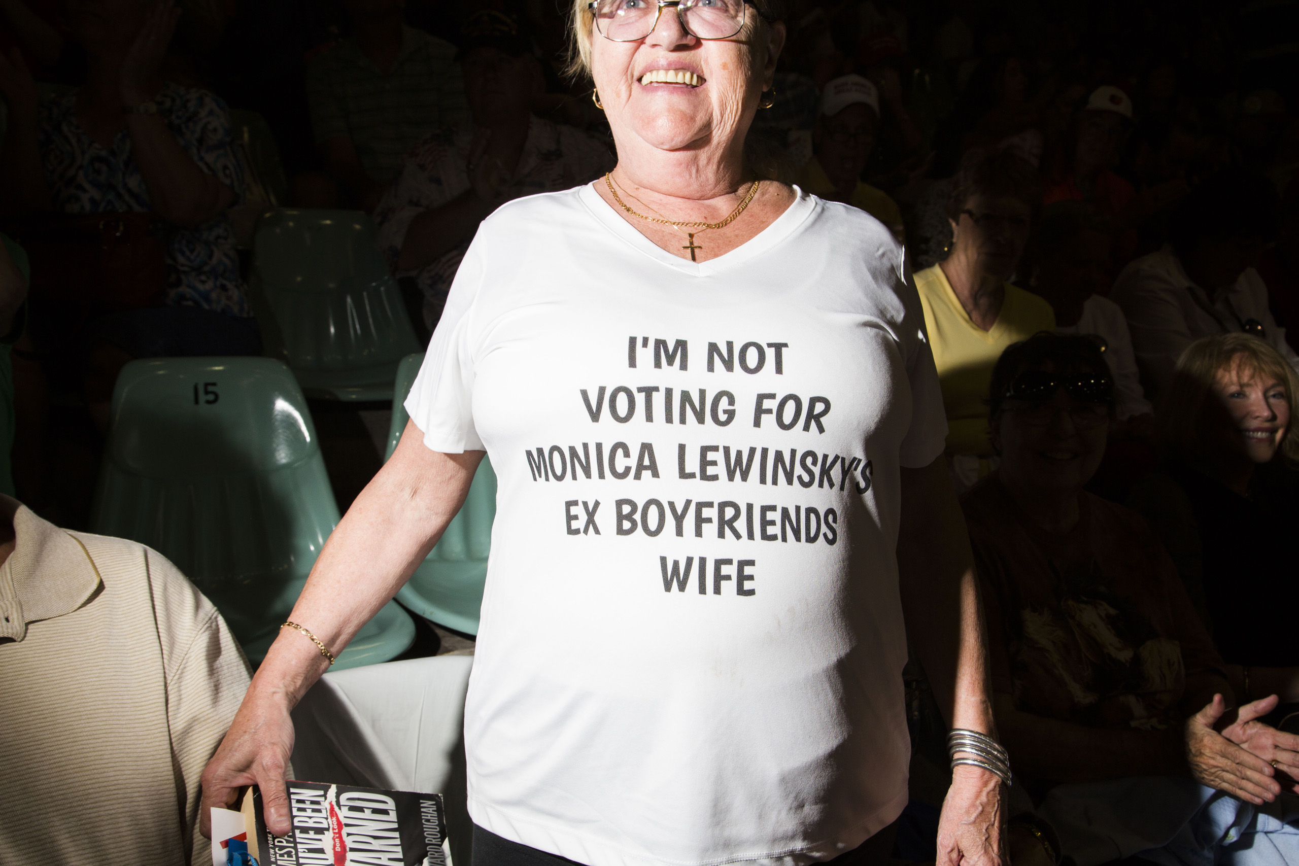 Supporter of Republican presidential candidate shows off a tshirt at a rally in Sarasota, Fla. Nov. 28, 2015.