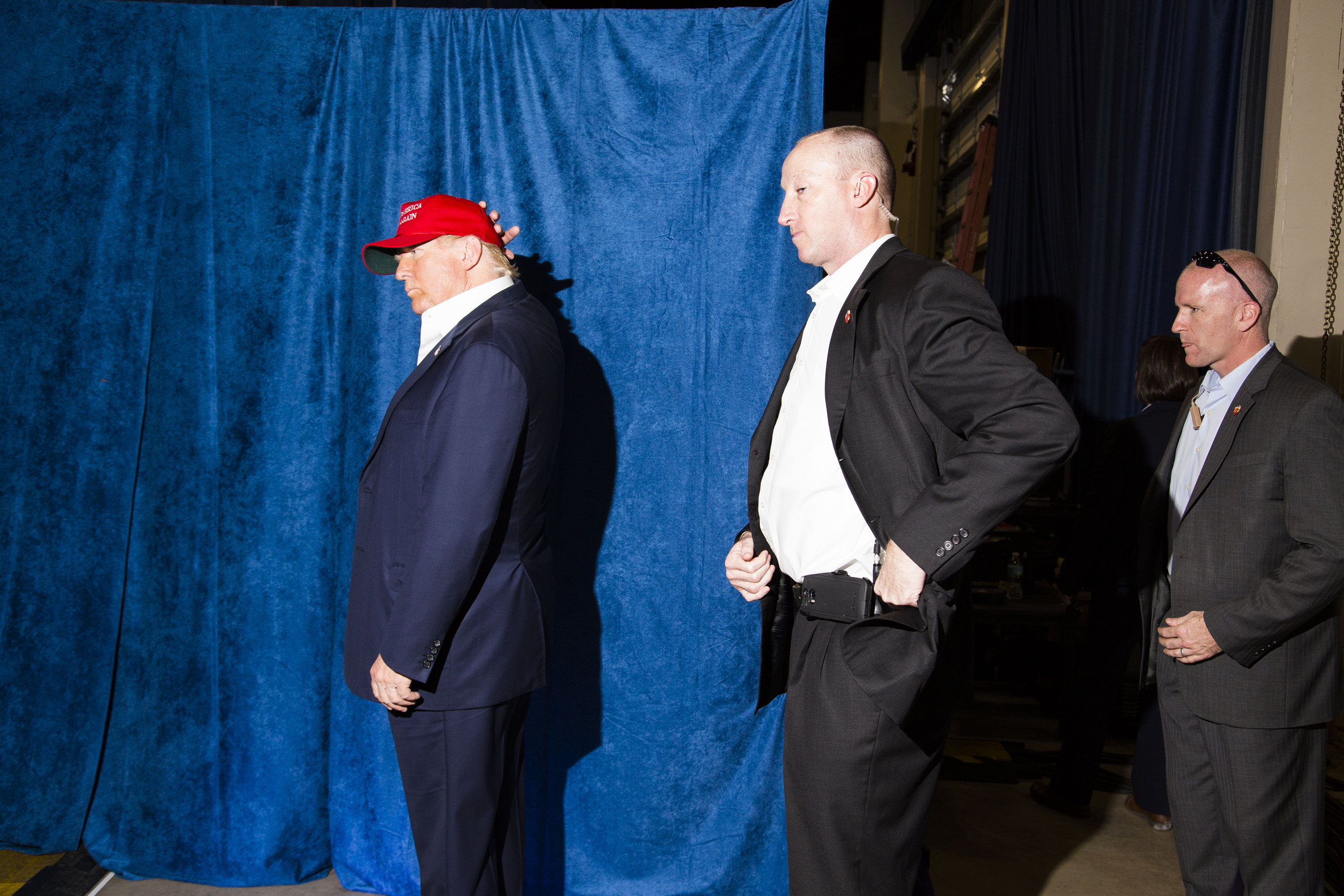 Republican presidential candidate Donald Trump backstage at a campaign rally in Sarasota, Fla. Nov. 28, 2015.