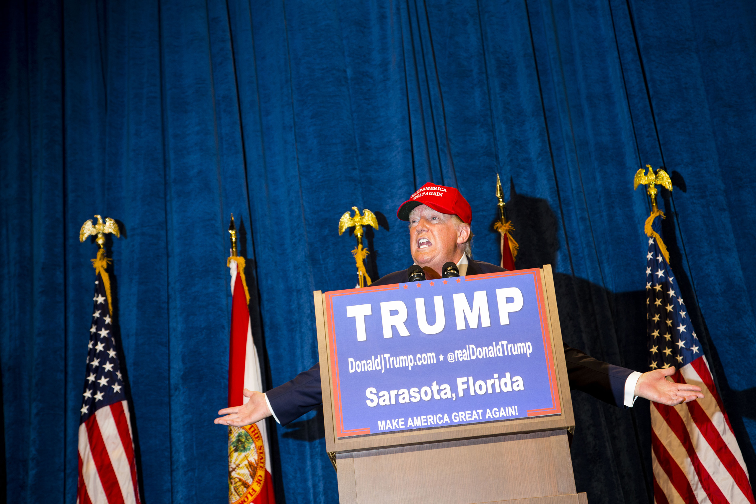 Republican presidential candidate Donald Trump speaks at a rally in Sarasota, Fla. Nov. 28, 2015.