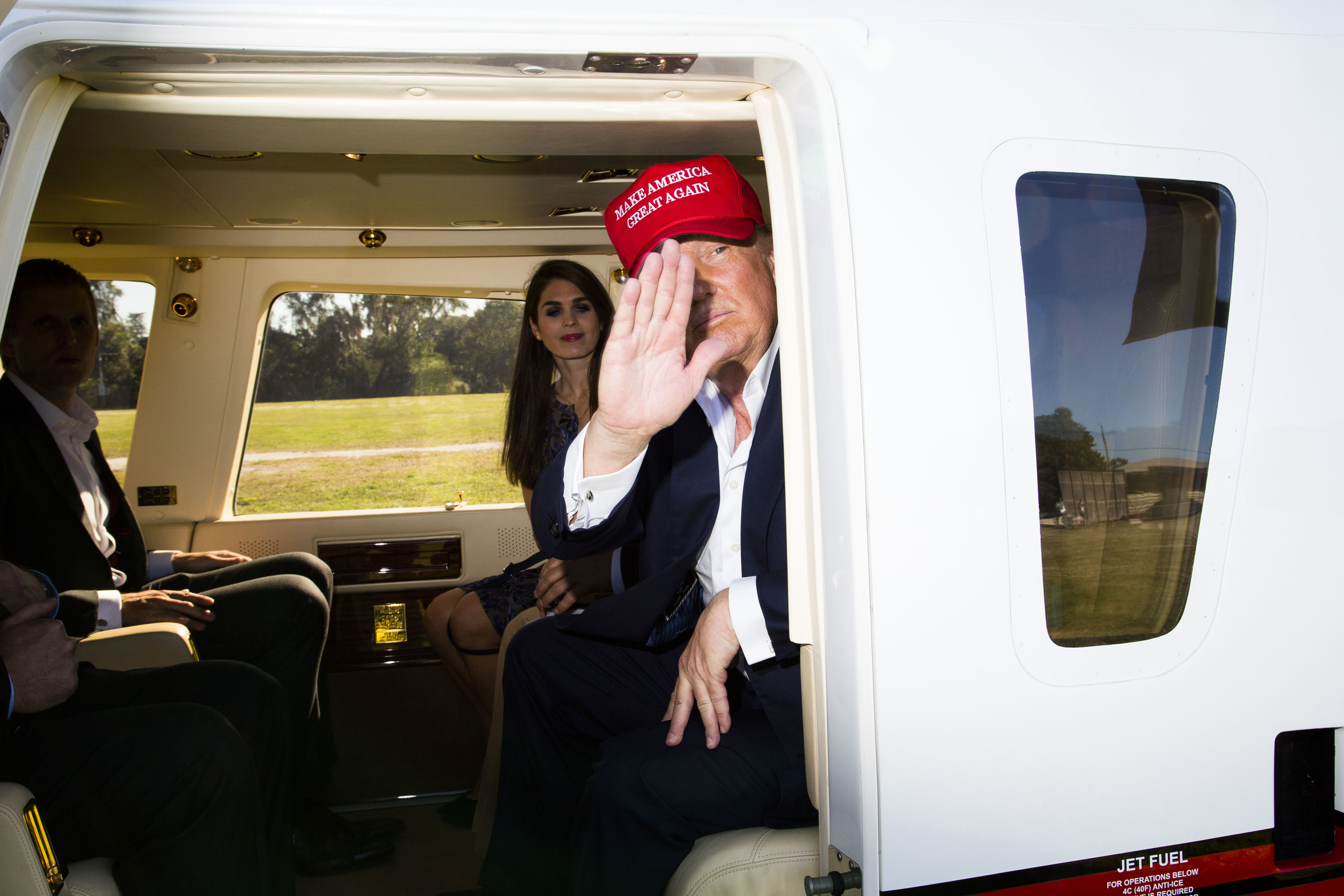 Donald Trump and his campaign staff prepare to depart from the Robarts Arena on Saturday after a campaign rally in Sarasota, Fla. Nov. 28, 2015.