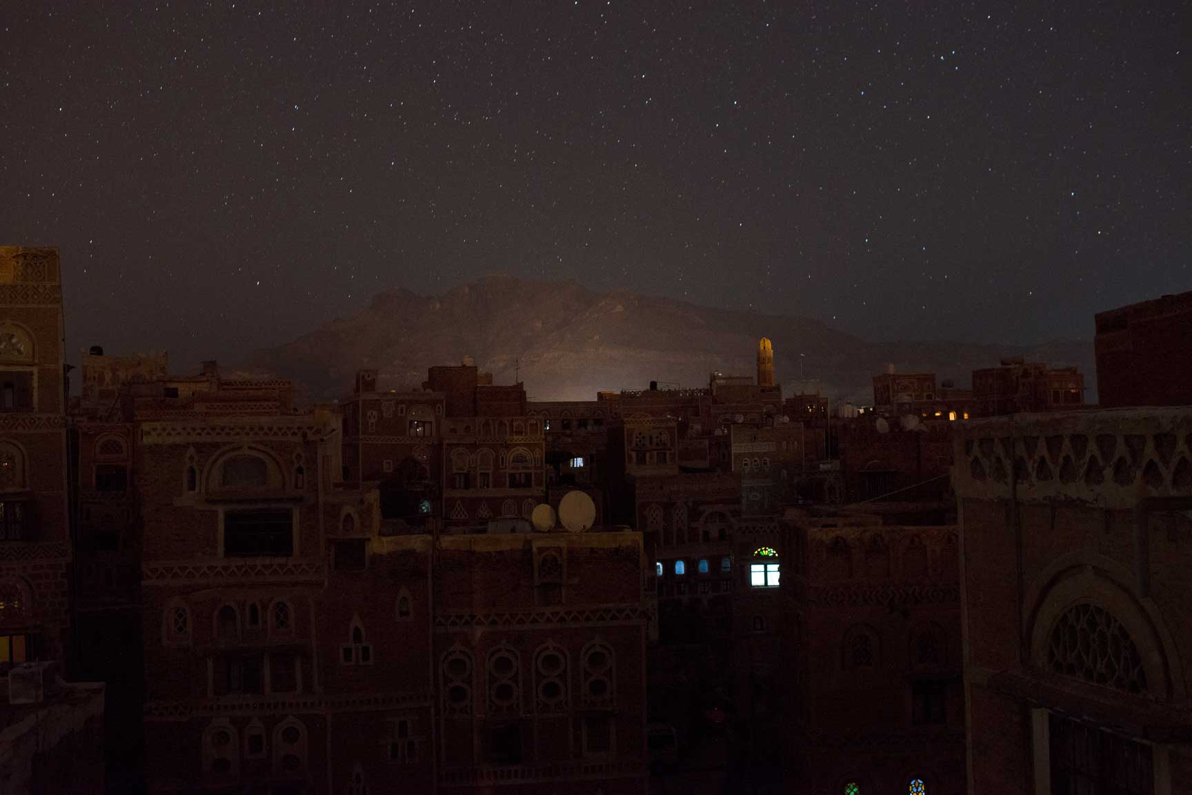 Stars shine above the Old City on Saturday, May 23, 2015 in Sana'a, Yemen.