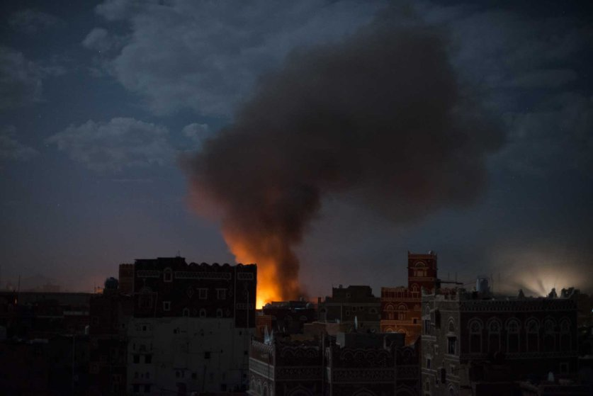 Smoke rises from an airstrike on Tuesday, June 9, 2015 in Sana'a, Yemen.