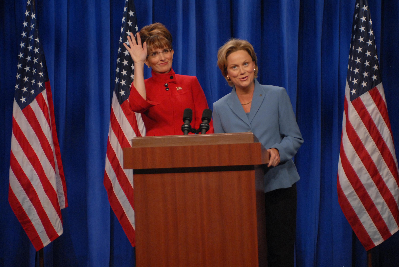 Tina Fey as Governor Sarah Palin, Amy Poehler as Senator Hillary Clinton during 'A Nonpartisan Message From Sarah Palin & Hillary Clinton' skit on Sept. 13, 2008.