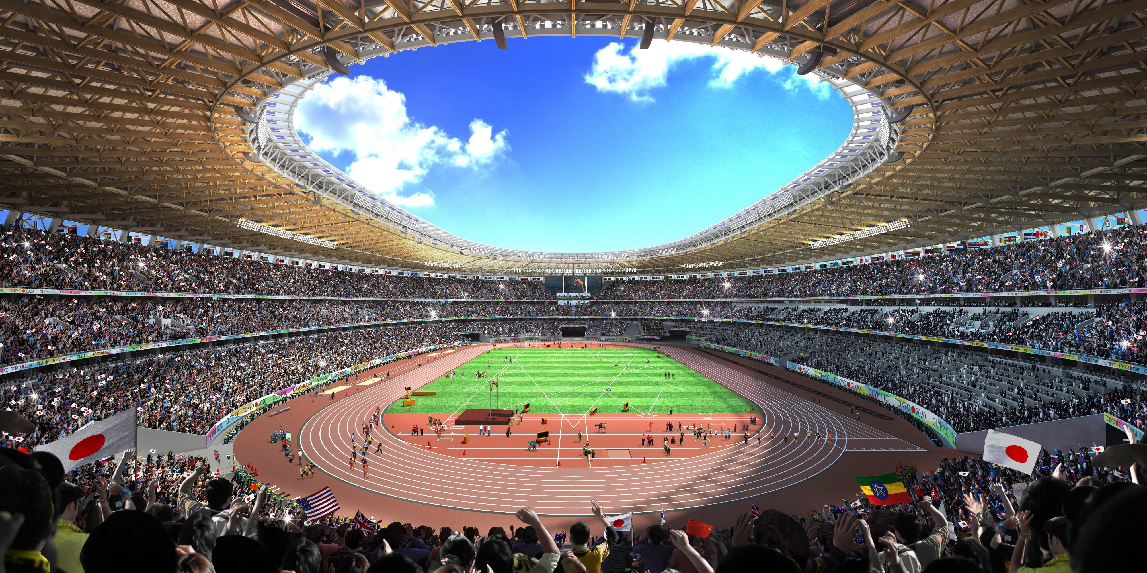 A concept image of the stadium for the 2020 Tokyo Olympics in Tokyo, on Dec. 22, 2015.